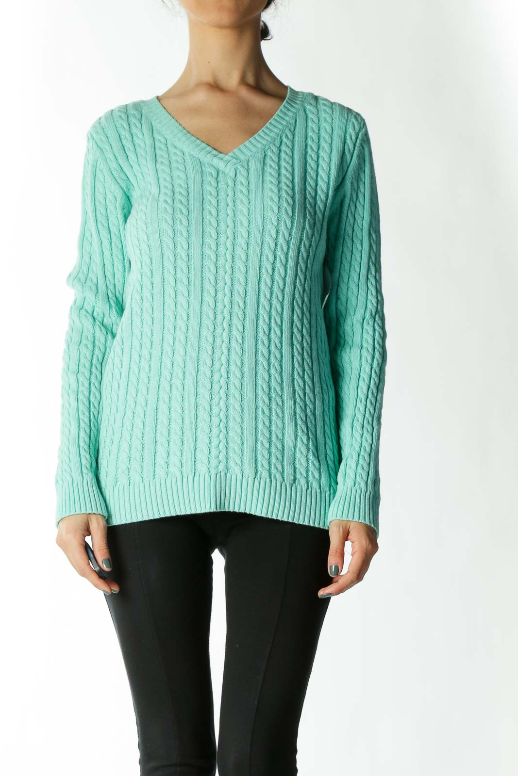 Mint Cable-Knit V-Neck Sweater Front