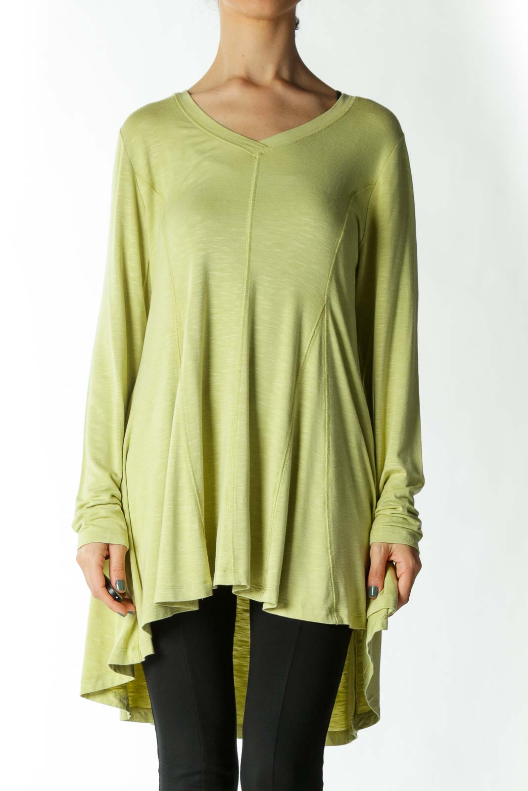 Light-Green Stretch Topstitching High-Low Tunic Top Front