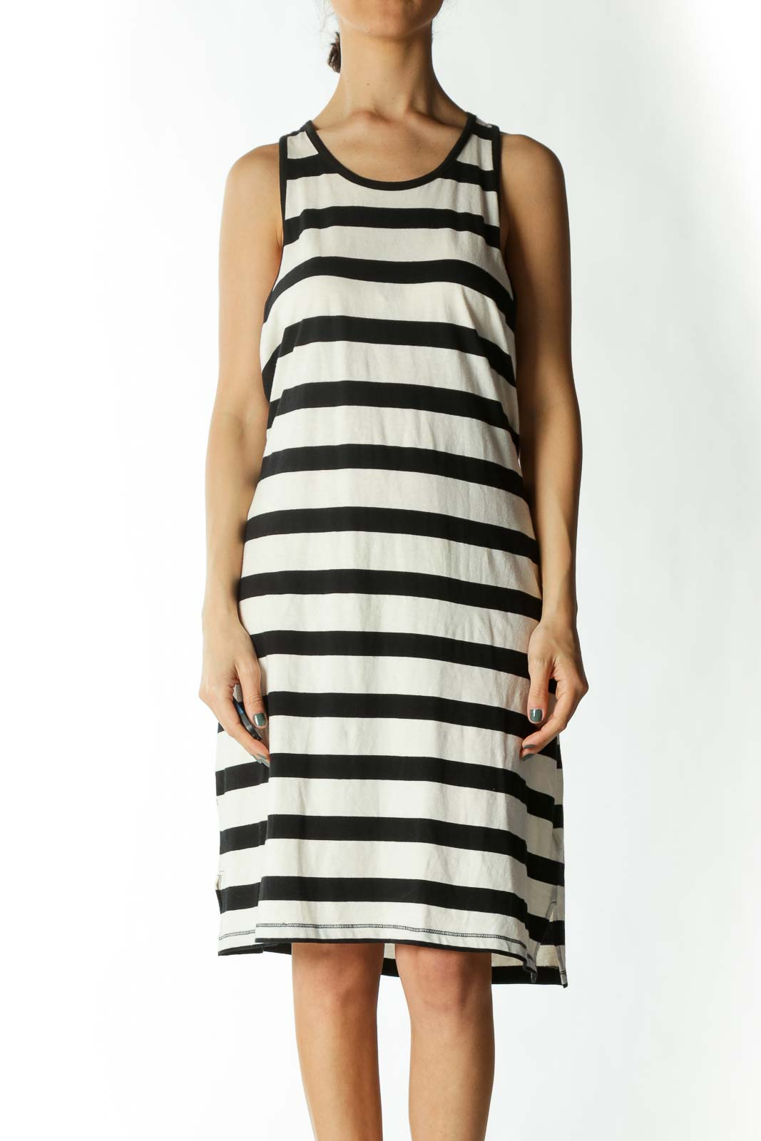 Black and White Striped Tank Dress  Front