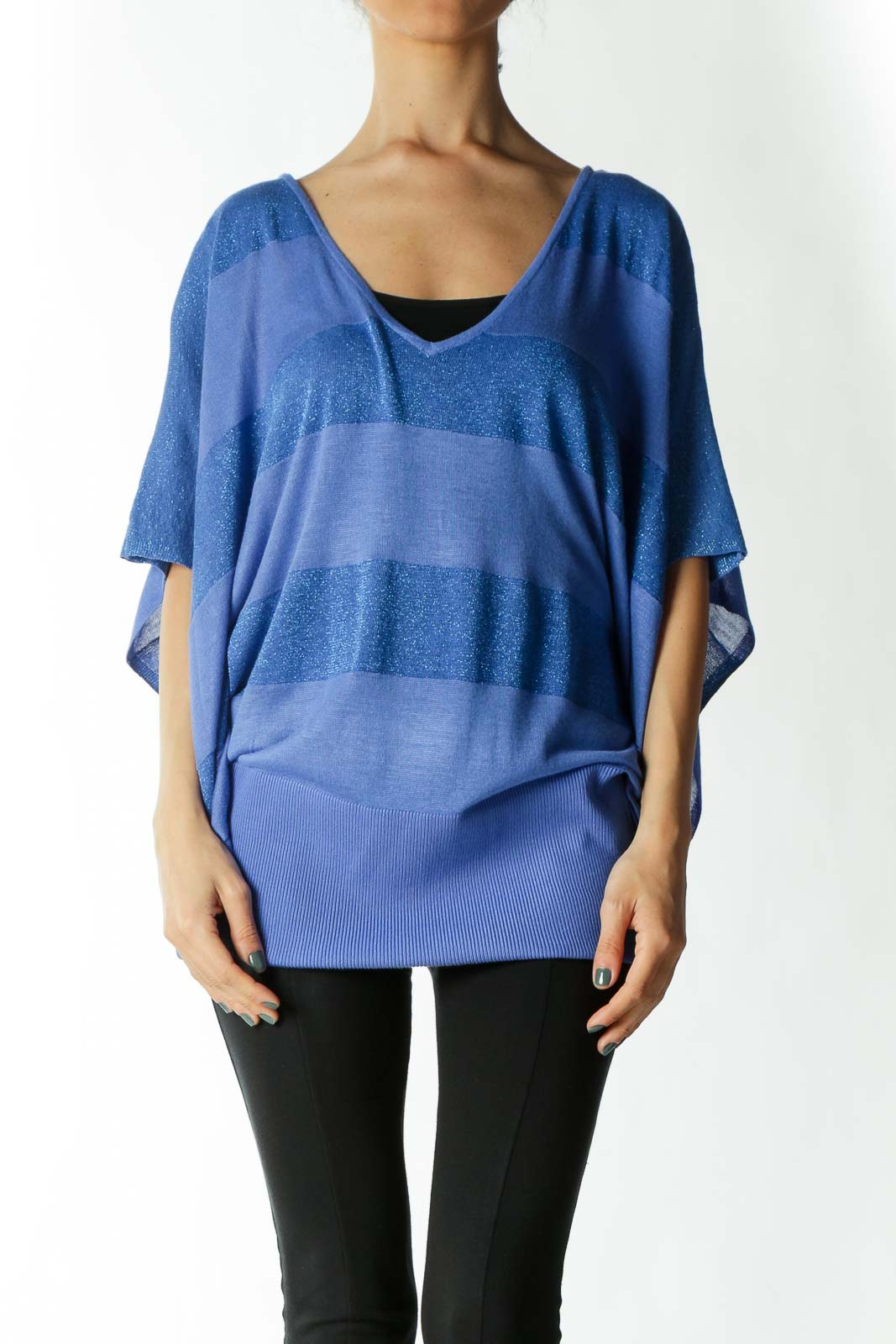 Blue Metallic Striped Shirt with Bat Sleeves  Front
