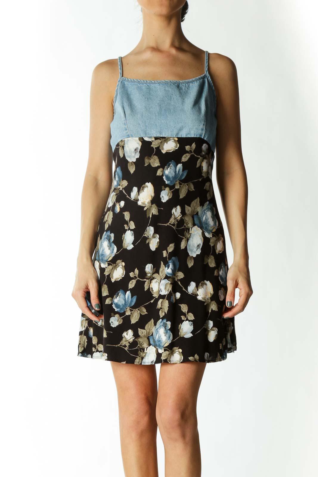 Multicolored Denim Upper Floral-Print Flared Day Dress Front
