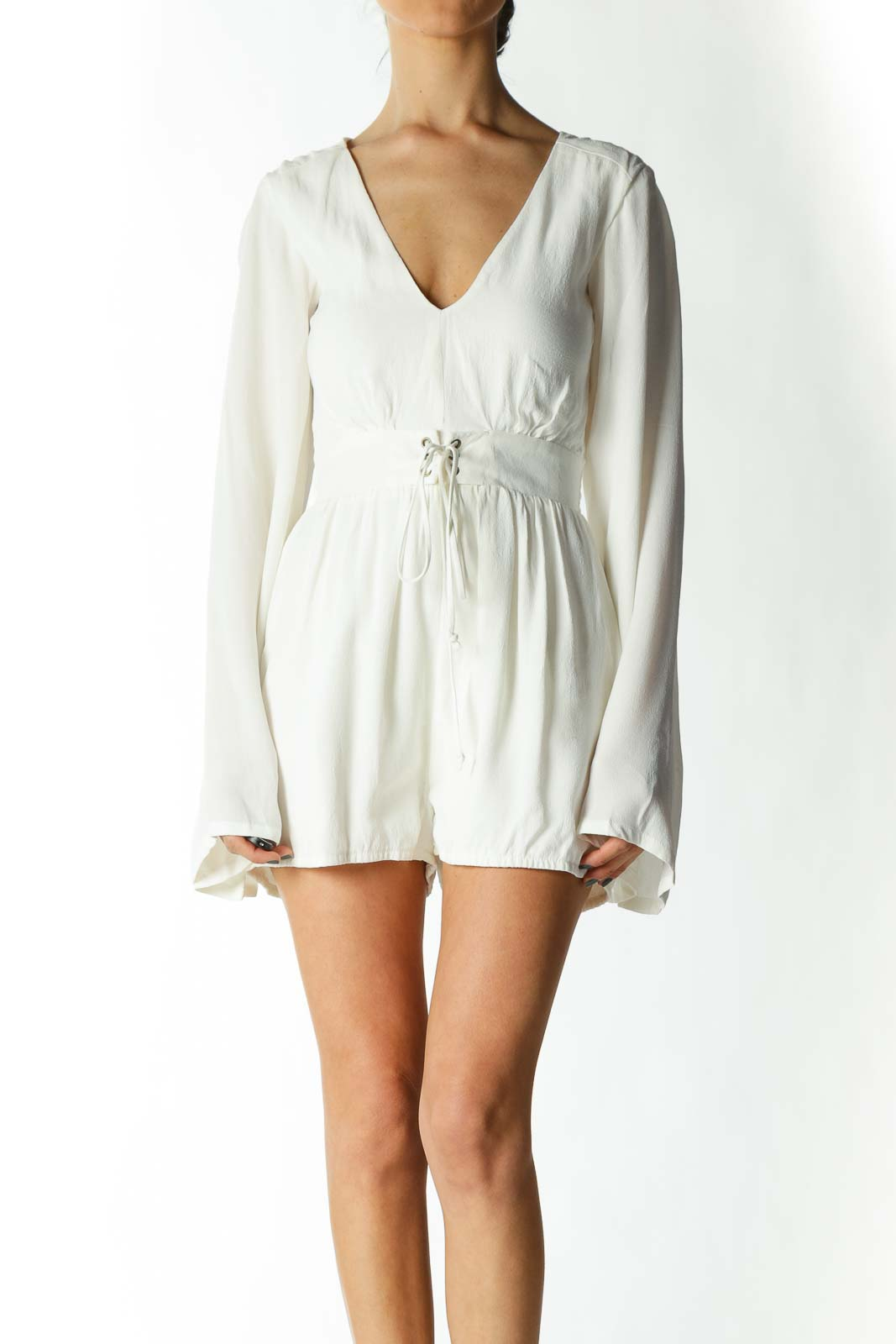 Cream Belted Bell-Sleeve Romper Front