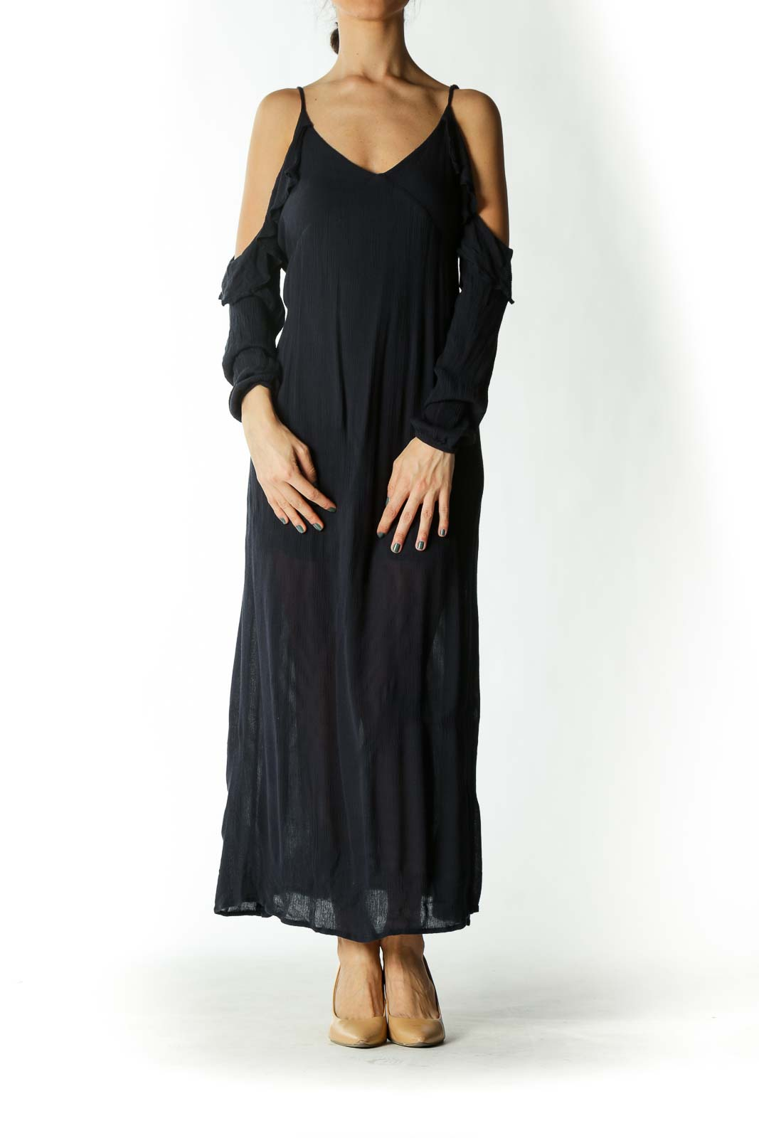 Navy Off-The-Shoulder Ruffle Neckline Maxi Dress Front