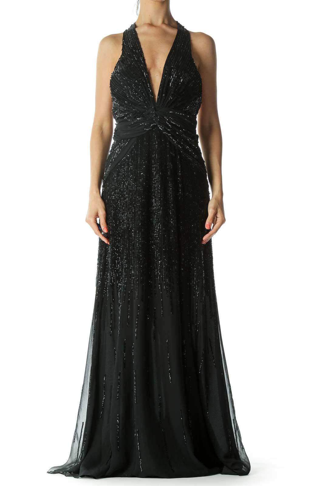 Black 100% Silk Sequined Halter-Neckline Front-Knot-Detail Evening Dress Front