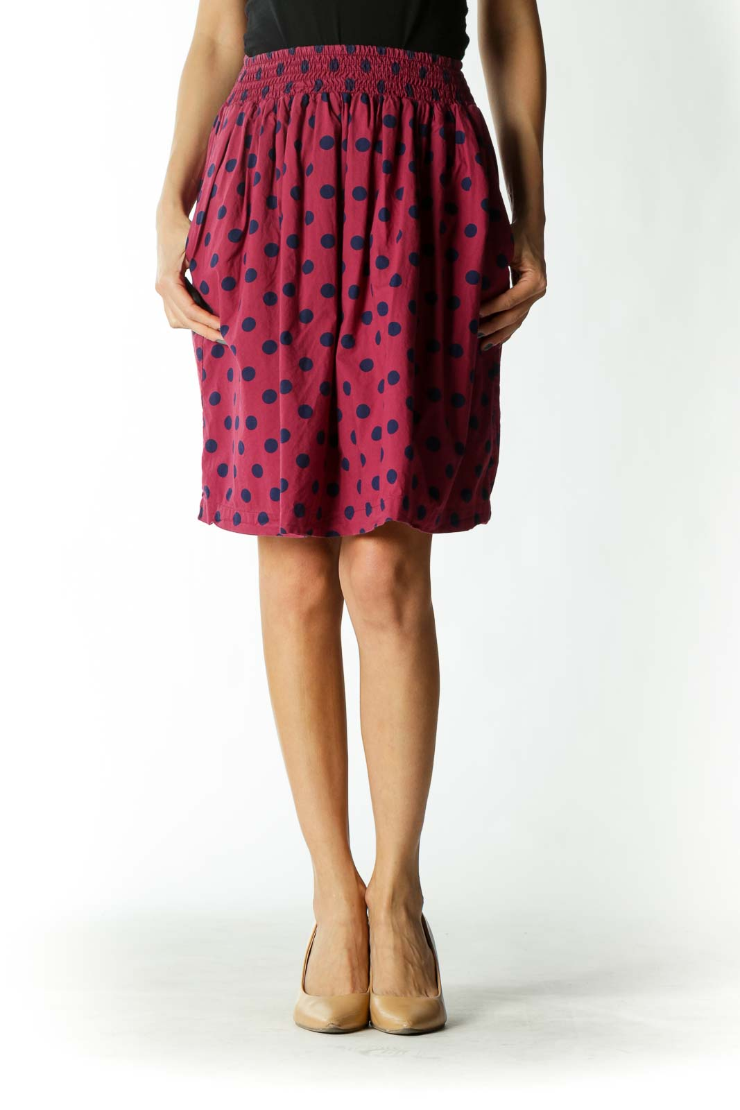 Burgundy/Navy-Blue 100% Cotton Pocketed Lined Skirt Front