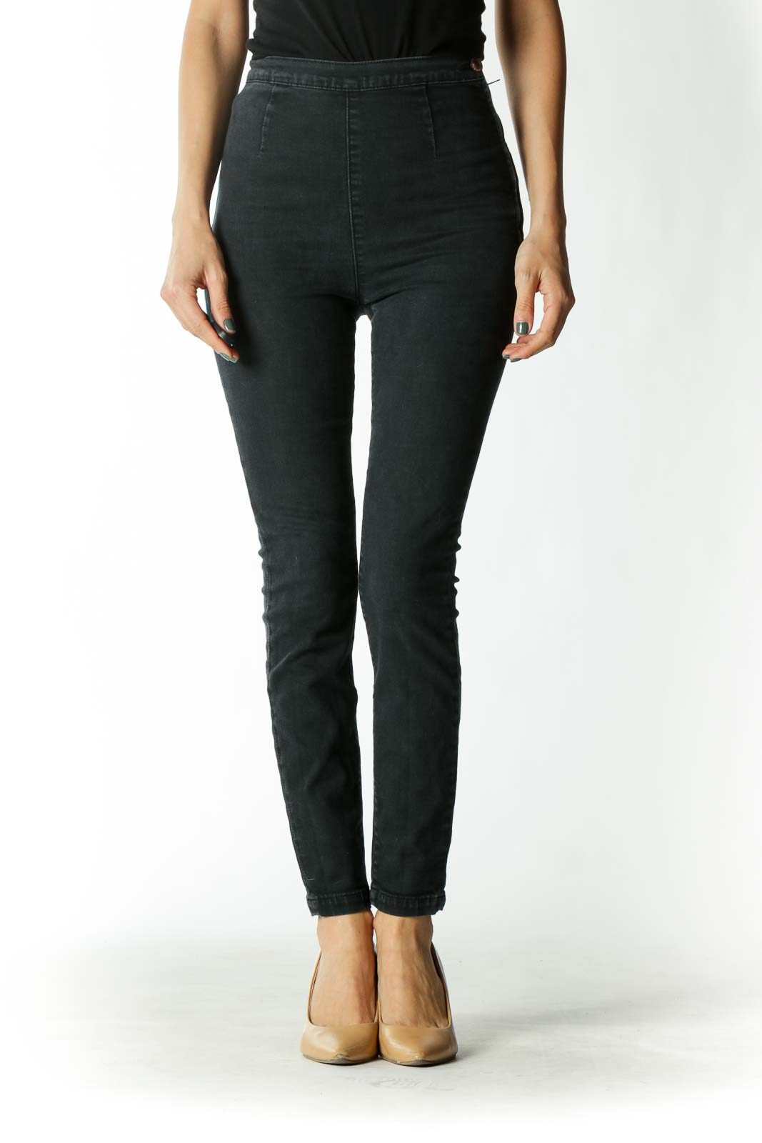 Charcoal Slip-On High-Rise Skinny Jeans Front