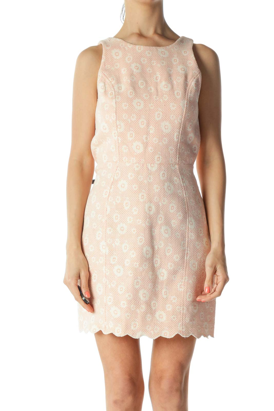 Orange/Cream Floral-Knit-Body Back-Cut-Out and Snap-Buttons Dress Front