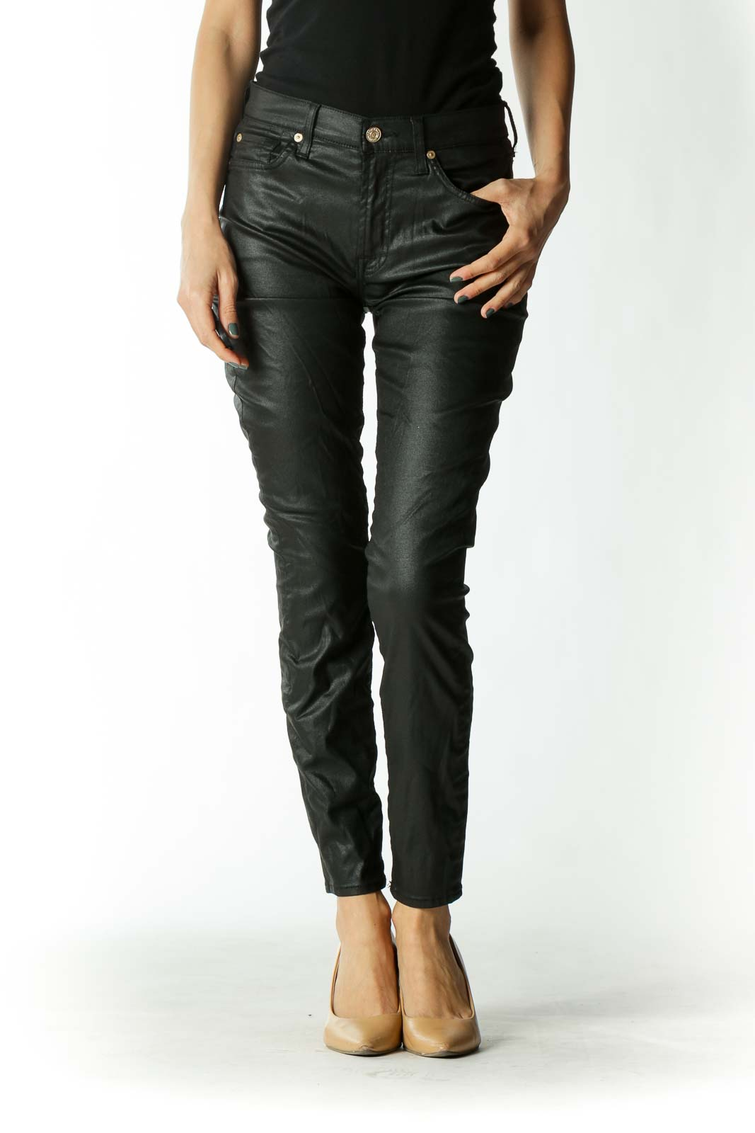 Black Waxed Mid-Rise Skinny Jeans with Gold Embellishments Front