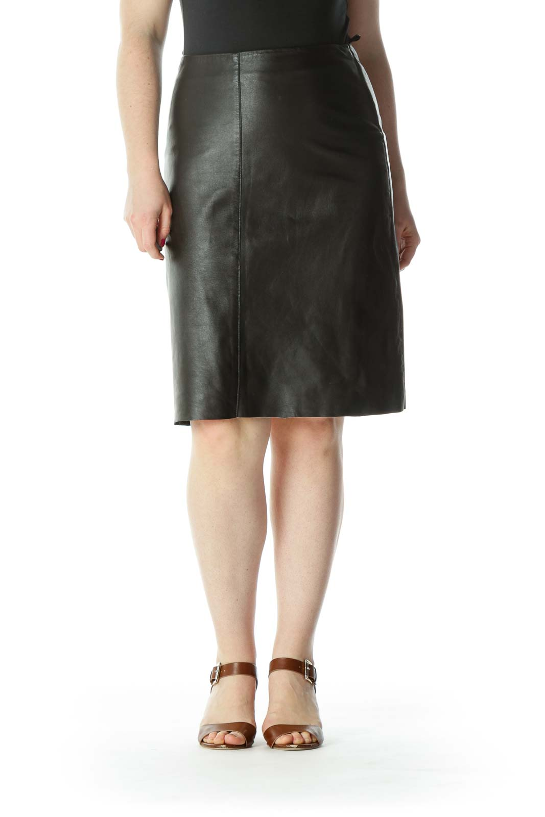 Dark-Brown Side-Zipper Mid-Length A-Line Lined Skirt Front