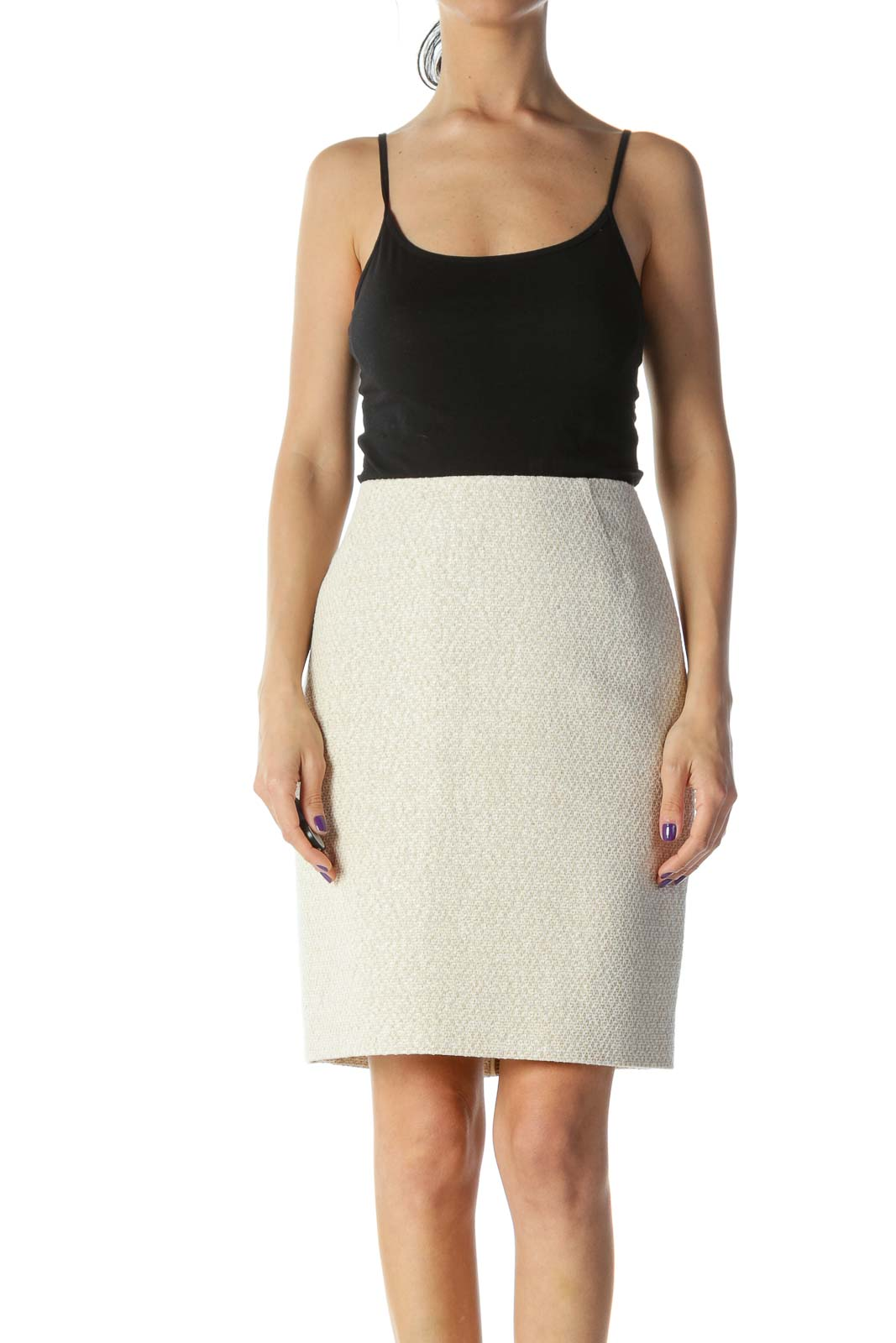 Beige Knit Double Zipper Pencil Skirt Front