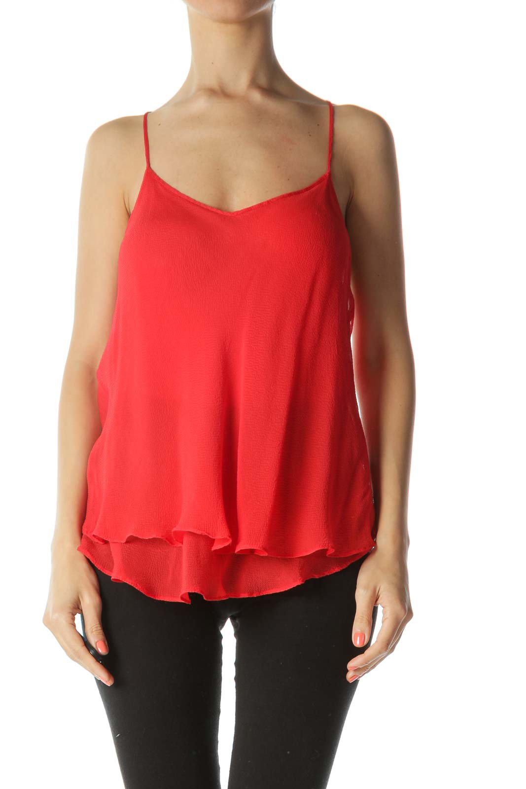 Red 100% Silk Adjustable-Strap See-Through Flared Top Front