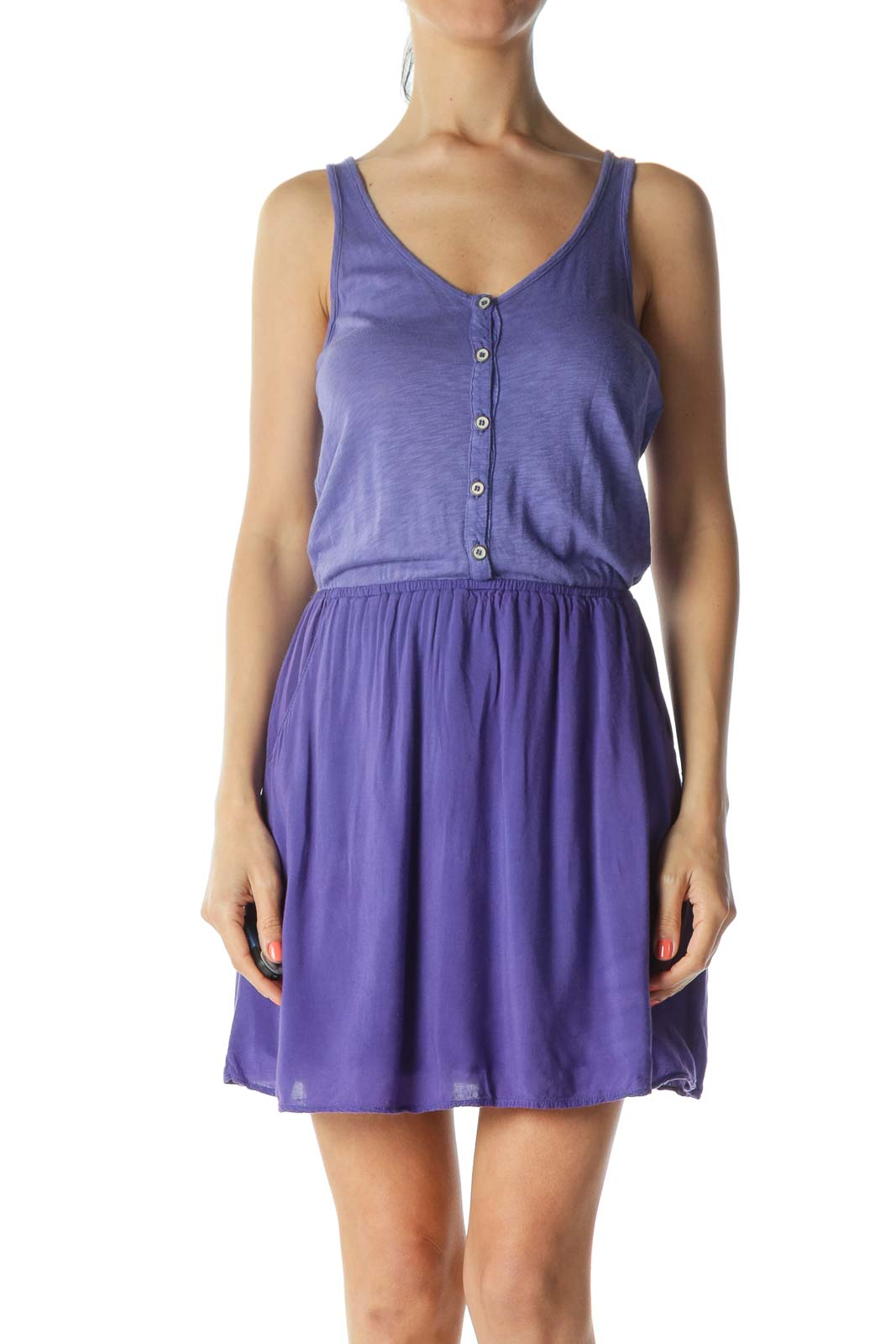 Purple Supima Cotton Pocketed Buttoned Jersey Dress Front