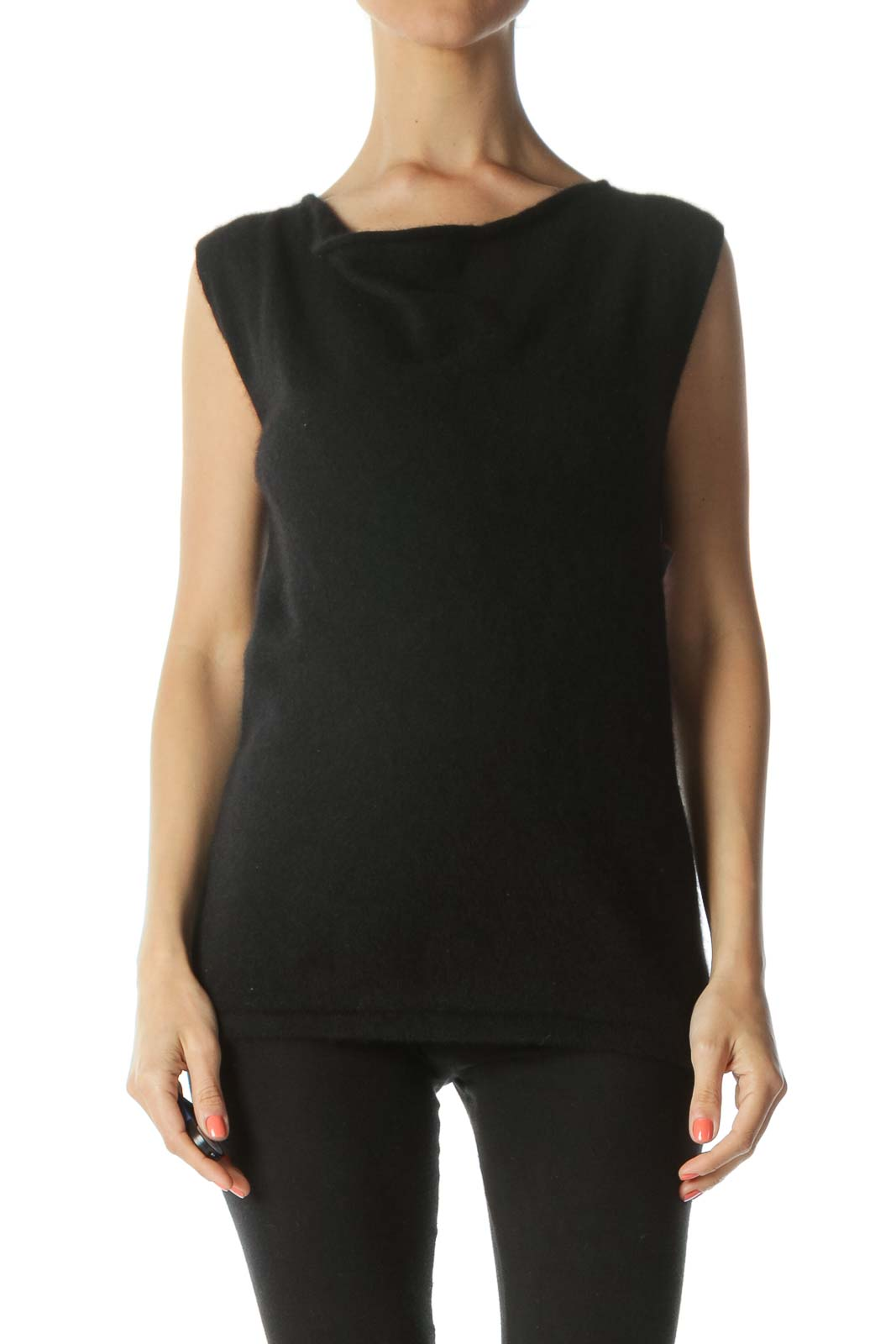 Black Cashmere Soft Cowl-Neck Sleeveless Tank Top Front