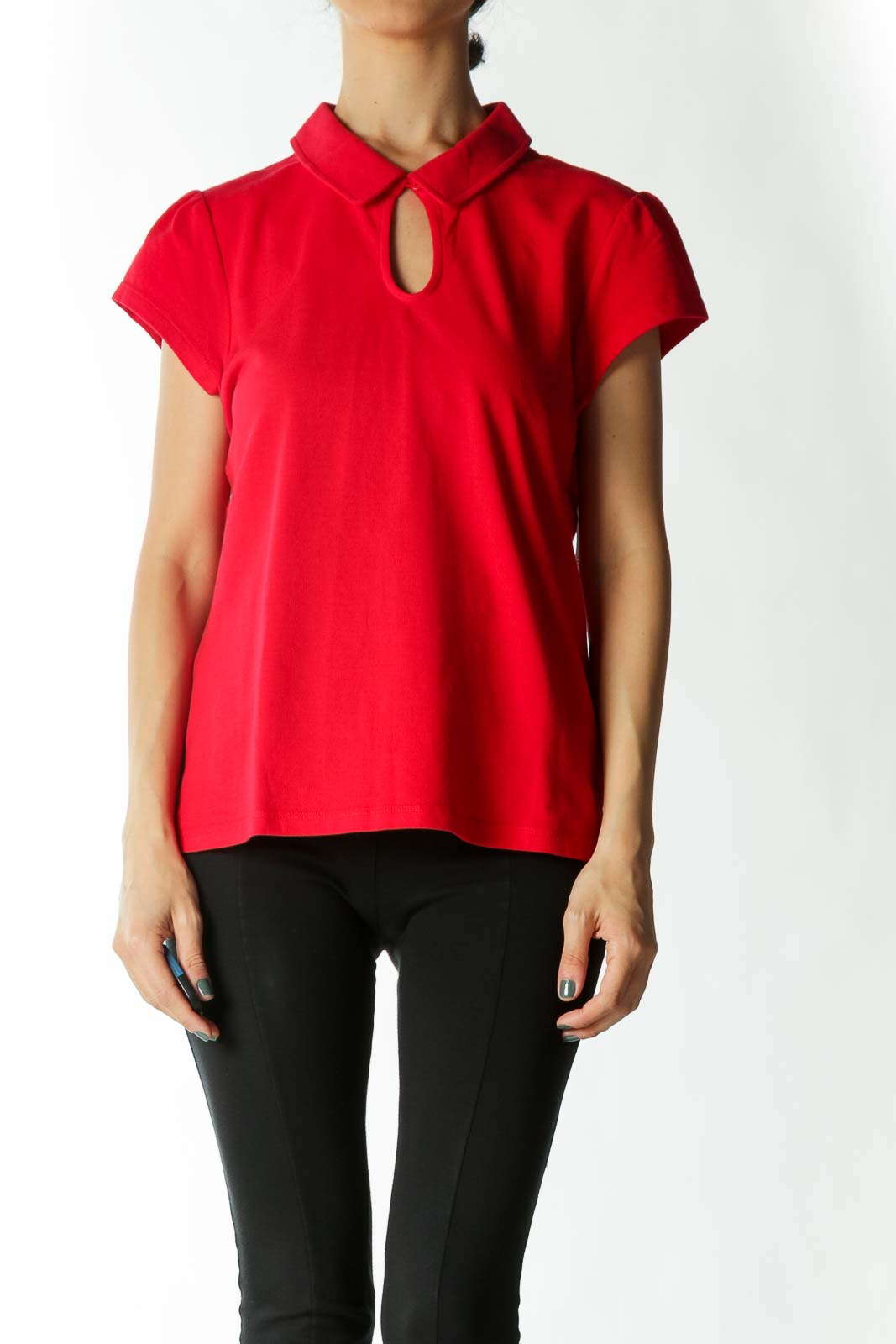 Red Key-Hole Cap-Sleeve Polo Front
