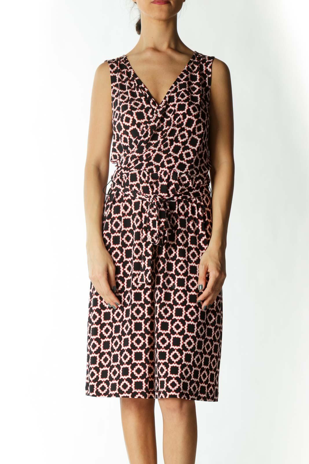 Black White & Red-Patterned Sleeveless Mock-Wrap Dress Front