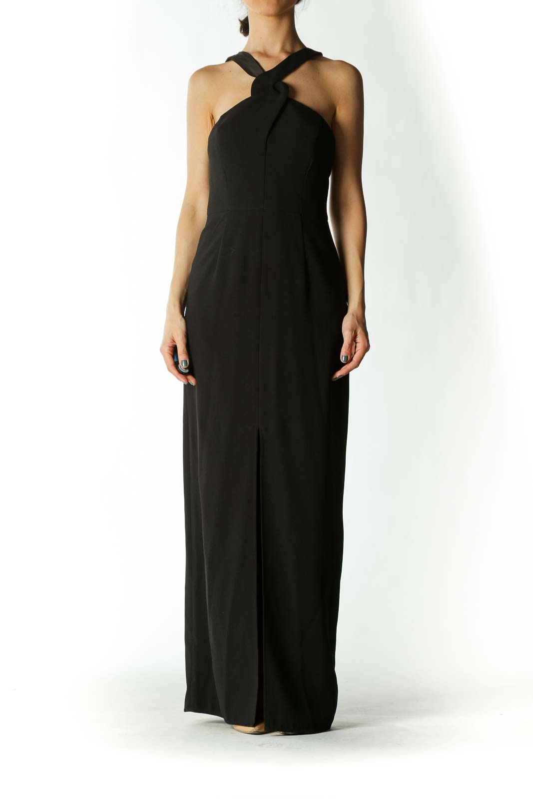 Black Cross-Back Narrow V-neck Evening Dress with Slit Front