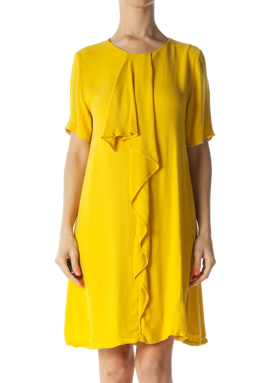 Mustard-Yellow Ruffled-Detail Short-Sleeve Day Dress Front