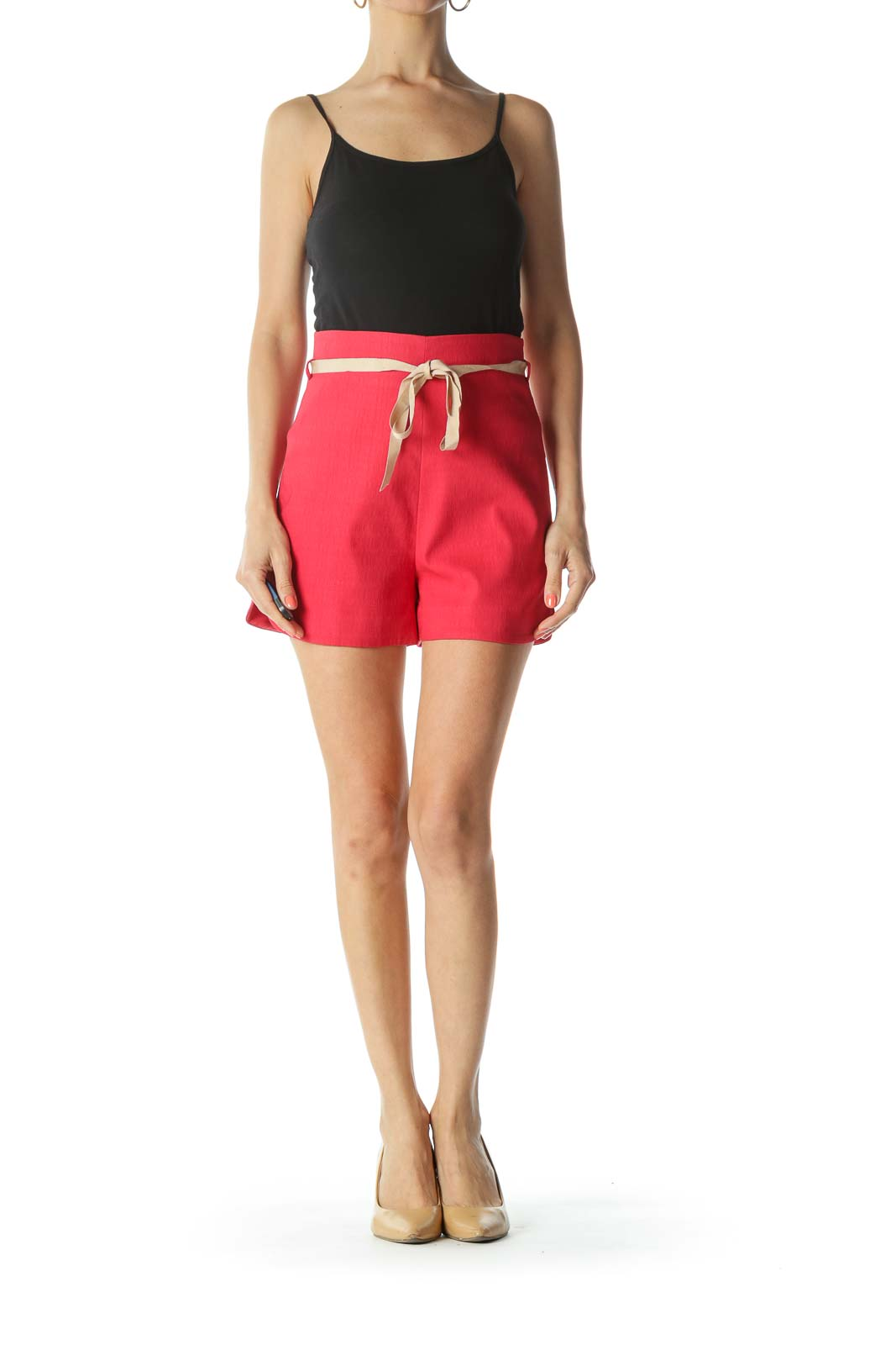 Red/Beige Textured-Fabric Belted High-Waisted Shorts Front