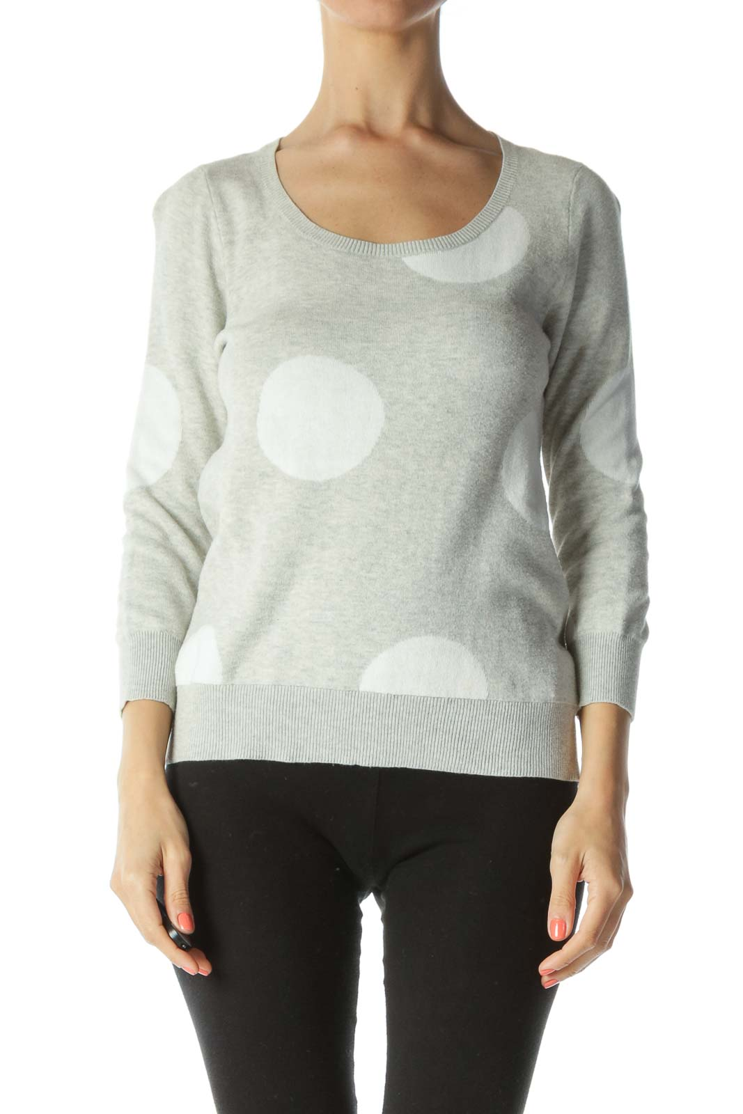 Gray/White 100% Cotton Polka-Dot Pullover Sweater Front