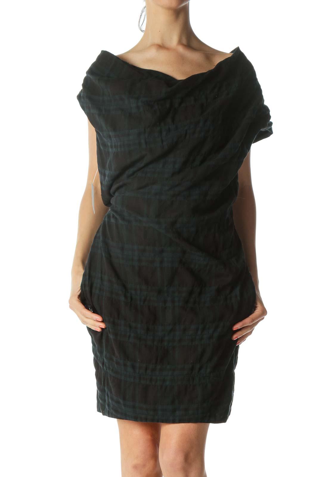 Blue/Black Off-Shoulder Plaid Pocketed Work Dress Front