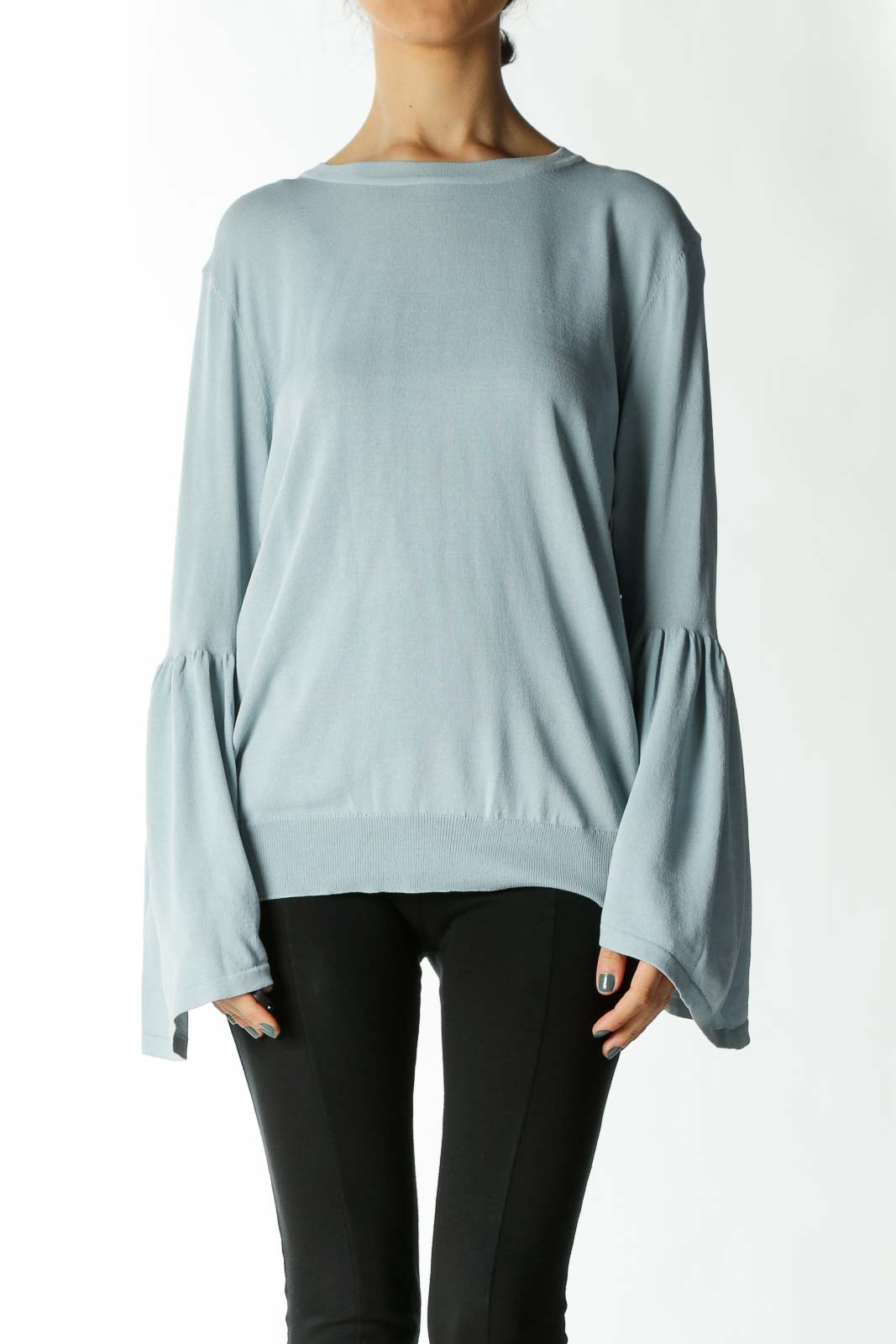 Light Blue Bell-Sleeve Knit Top Front