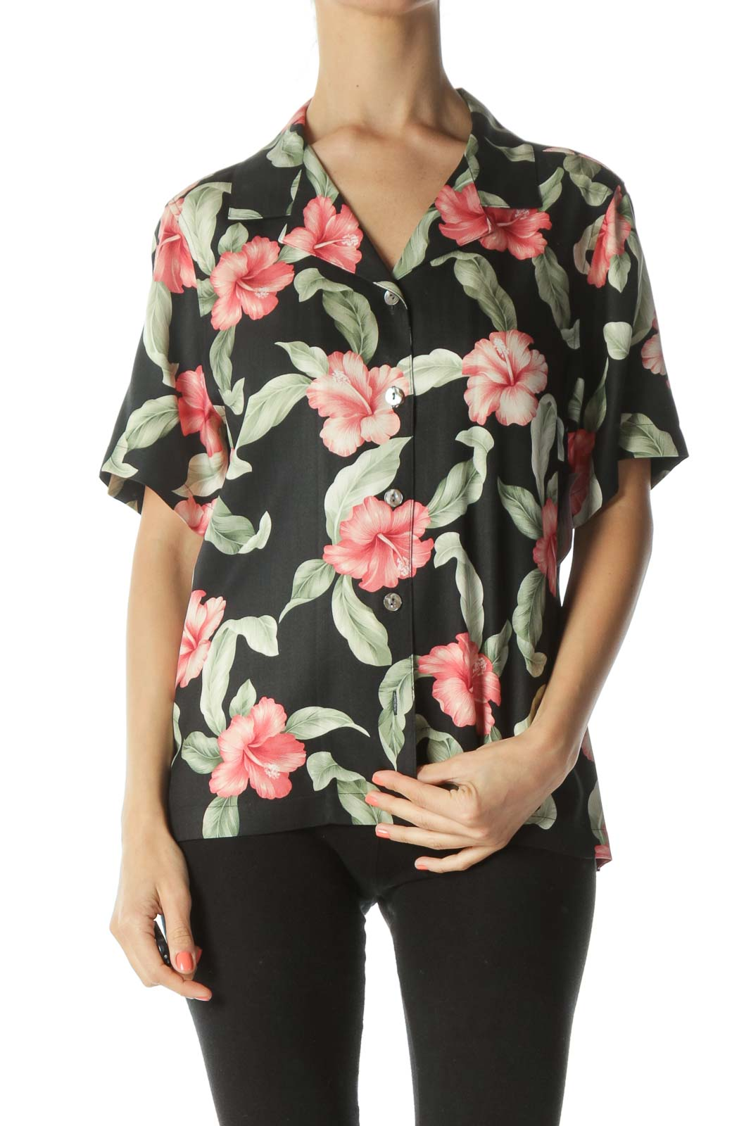 Black/Green/Pink 100% Silk Floral-Print Buttoned T-Shirt Front