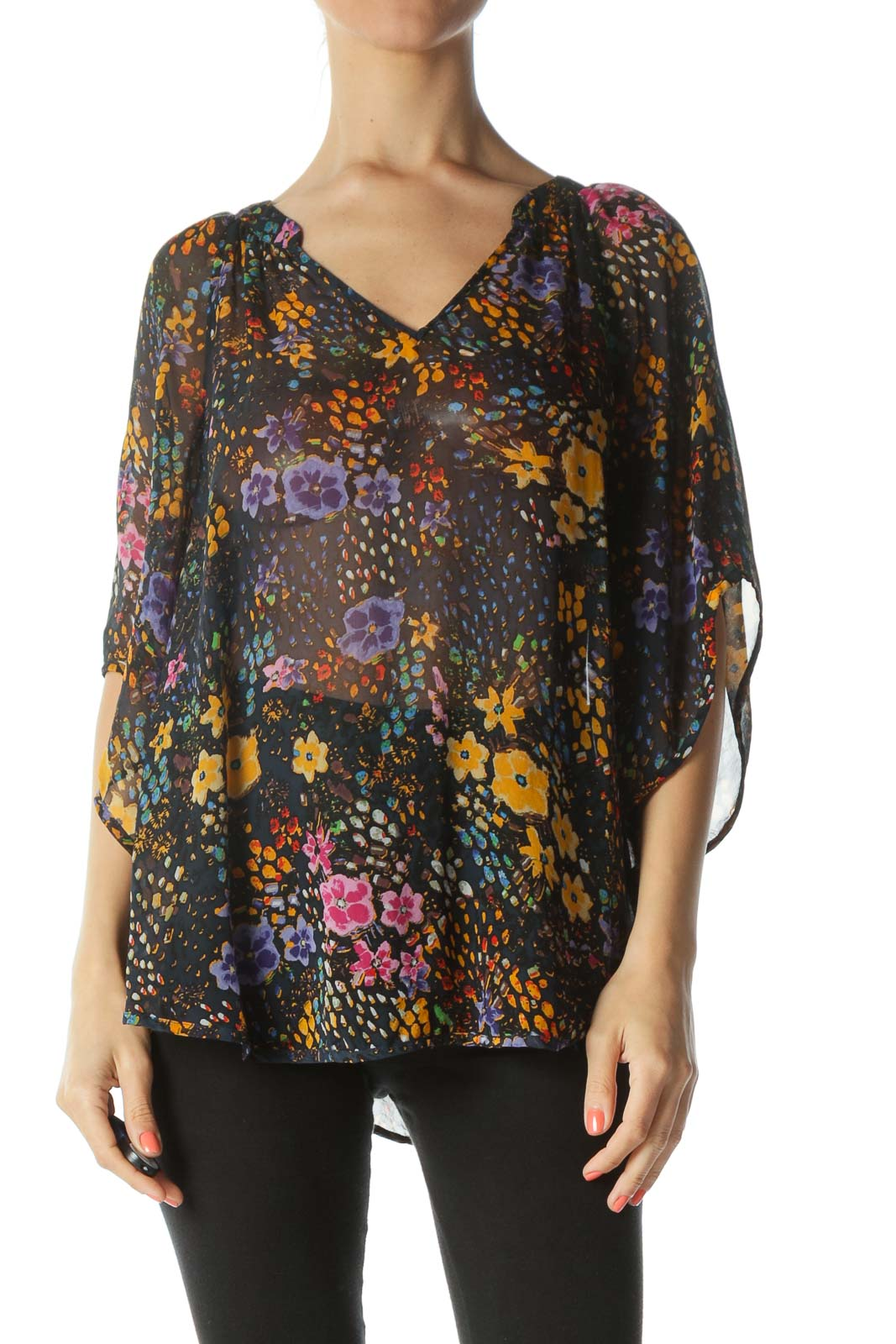 Multicolored 100% Silk Floral-Print See-Through Blouse Front