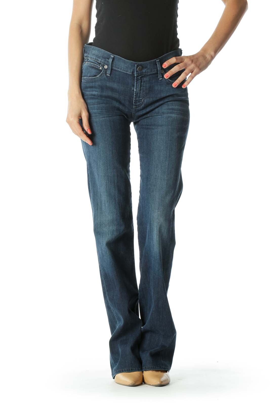 Blue Medium-Wash Light-Weight Straight-Leg Stretch Denim Jeans Front