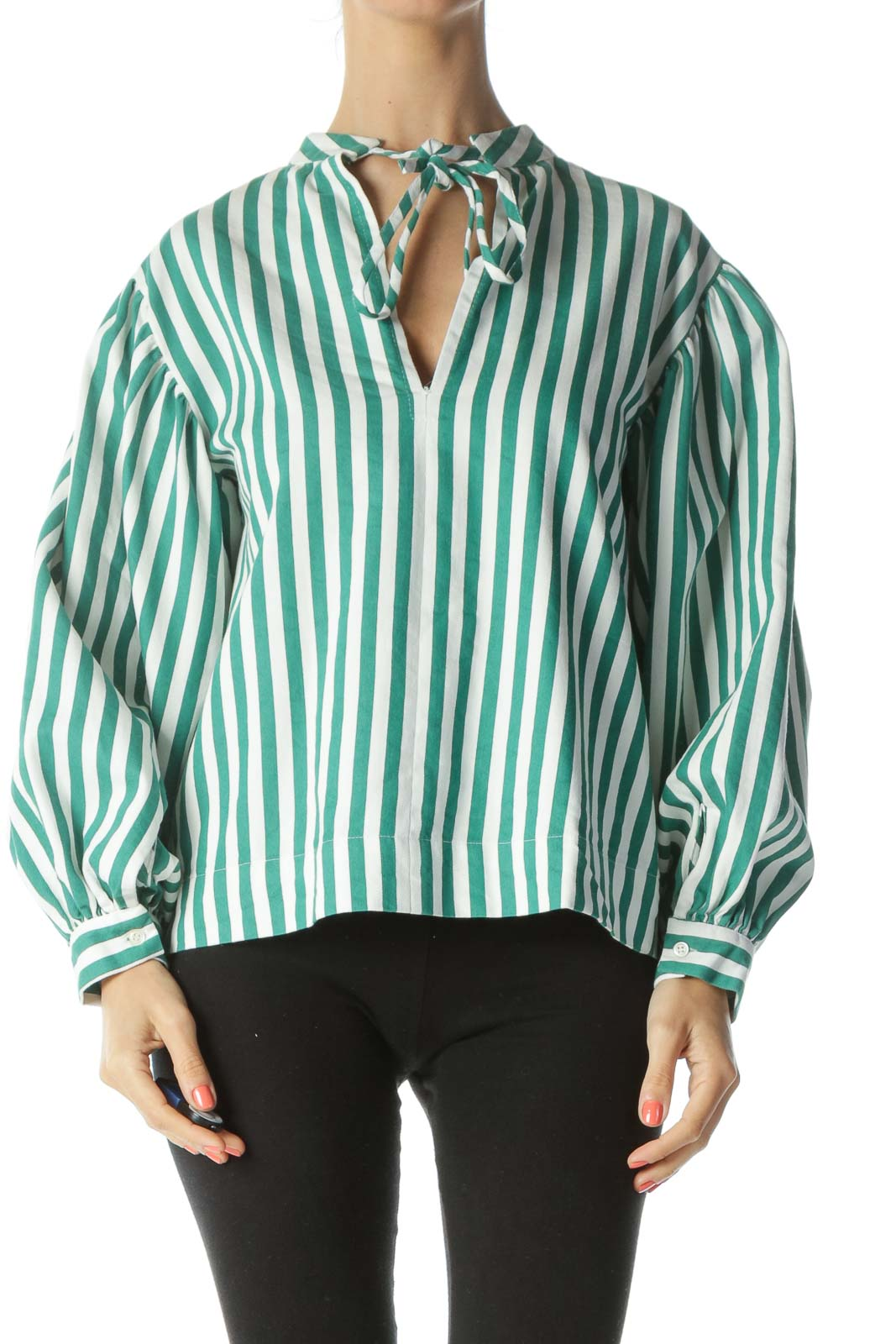 Emerald-Green/White Striped Neck-Back-Tie Top Front