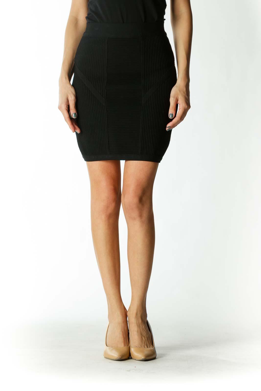 Black Cross-Ribbed Body-Con Mini Skirt Front
