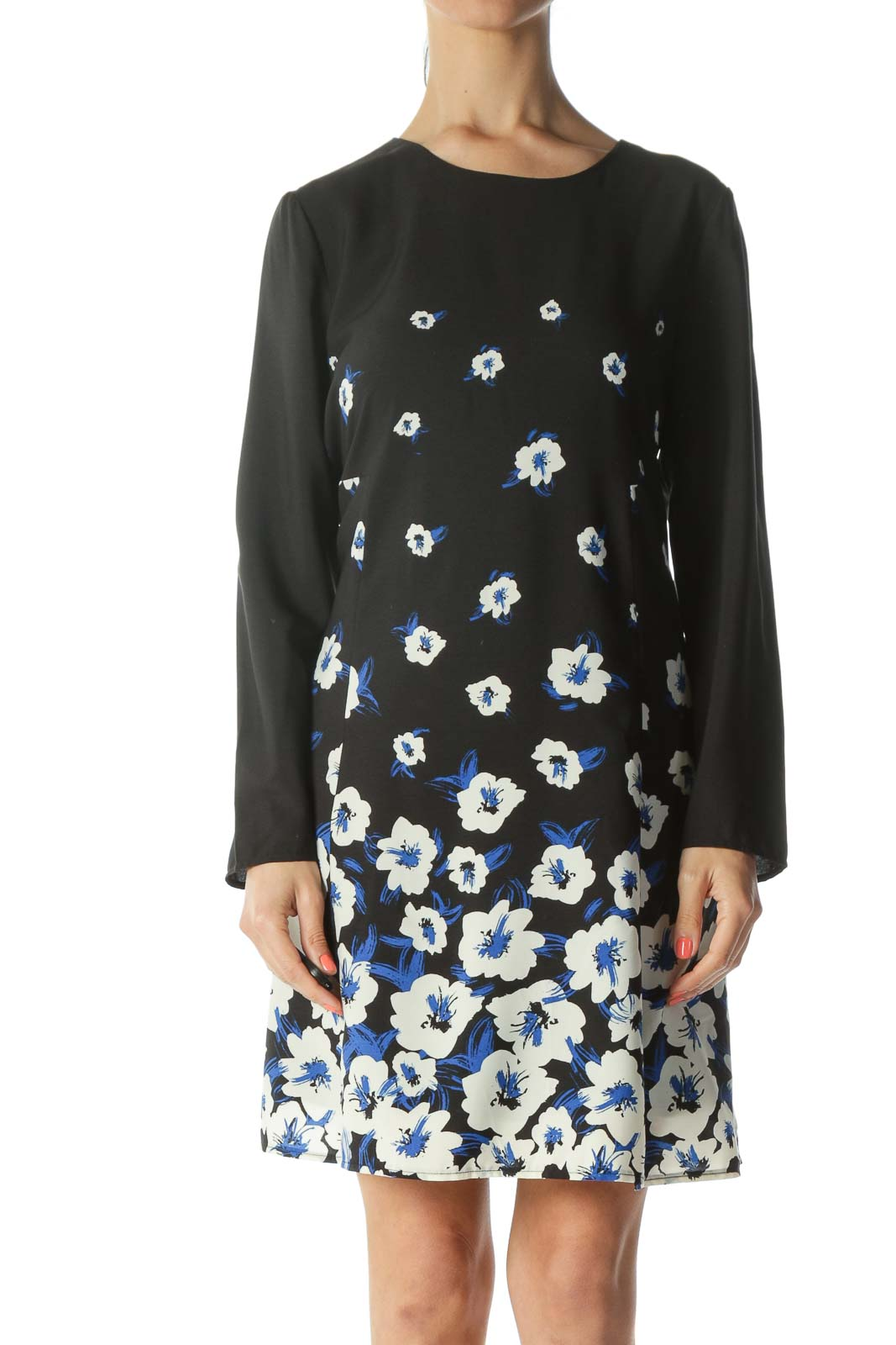 Black/Blue/White Floral-Print Keyhole-Back Work Dress Front