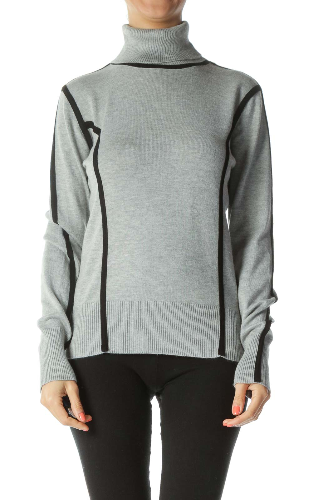 Black/Gray Turtle-Neck Contrasting-Piping Sweater Front