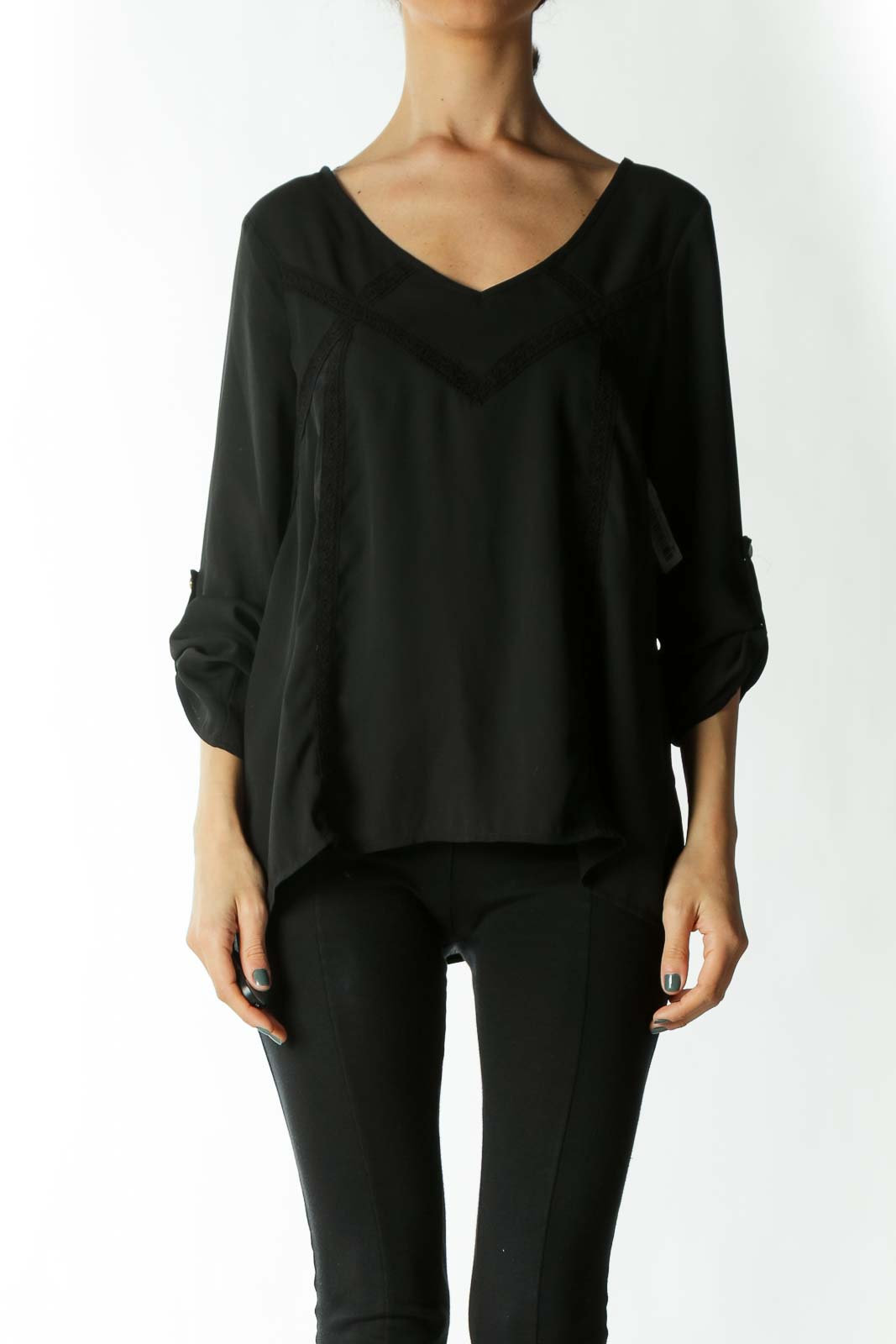 Black Translucent Lace-Detailing Back-Strap Long-Sleeve Blouse Front
