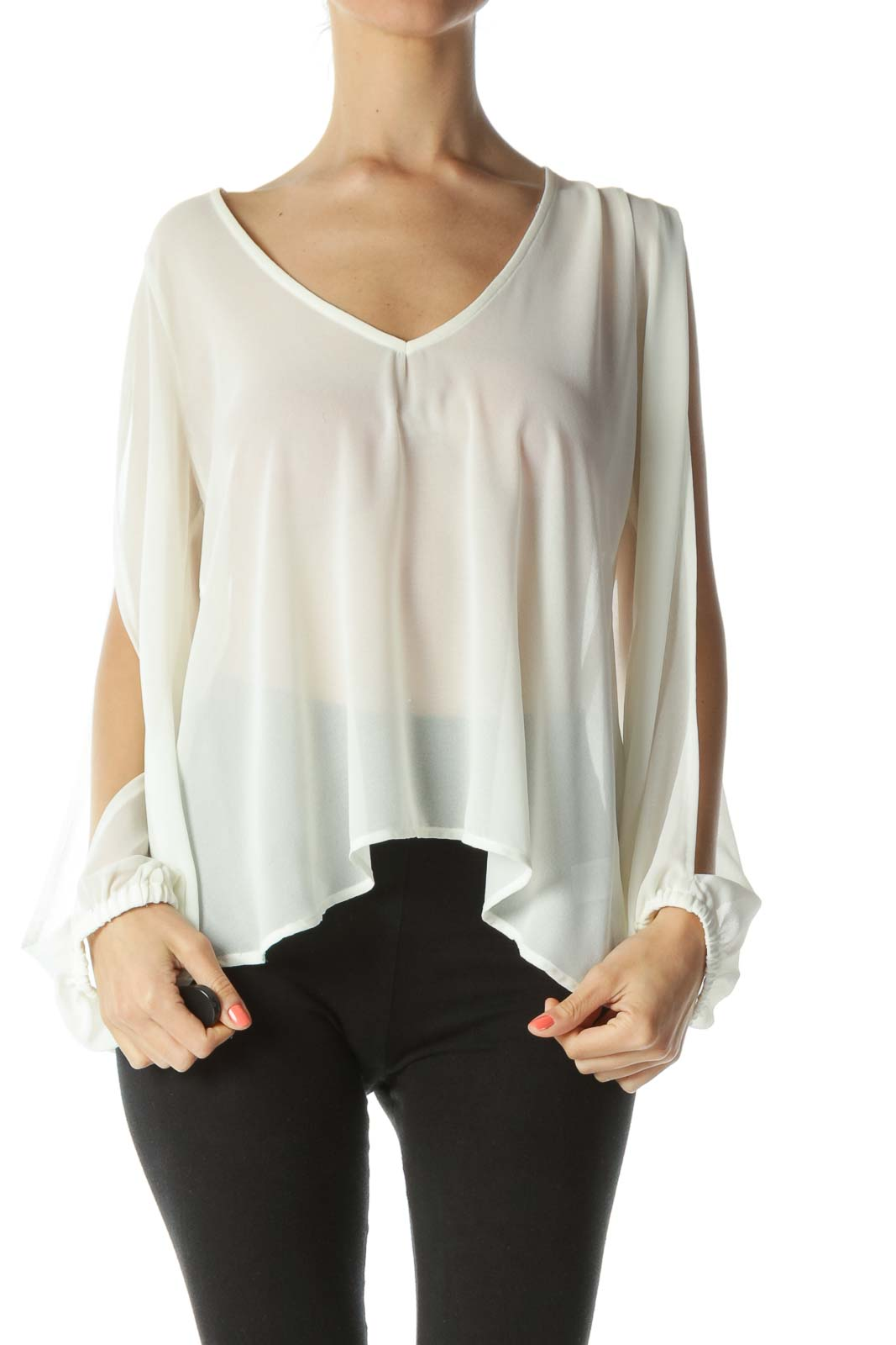Cream Translucent Slitted-Shoulders Long-Sleeve Blouse Front