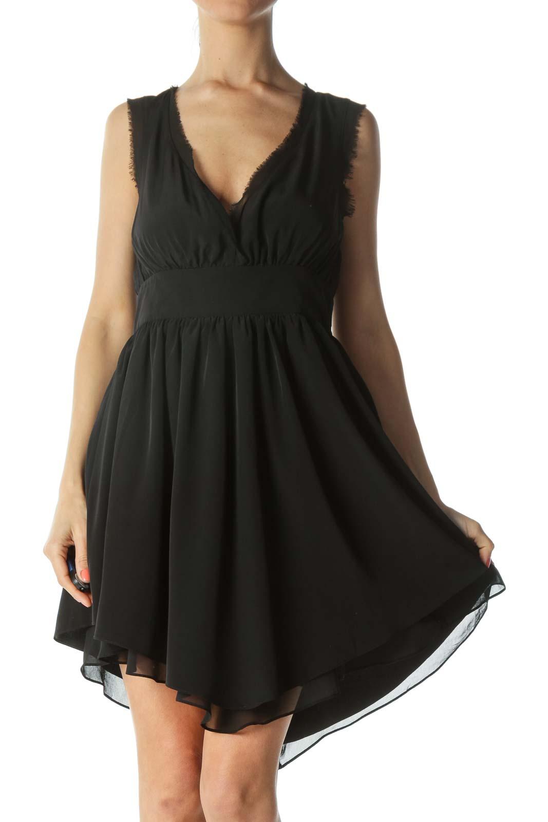 Black V-Neck Raw-Hem Cinched-Waist Flared Cocktail Dress Front