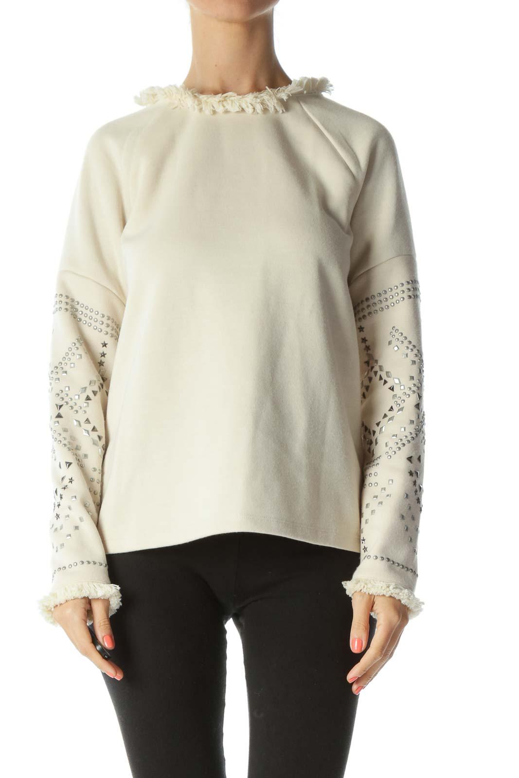 Cream Fringed-Neckline Bejewel-Sleeved Long-Sleeve Sweater Front
