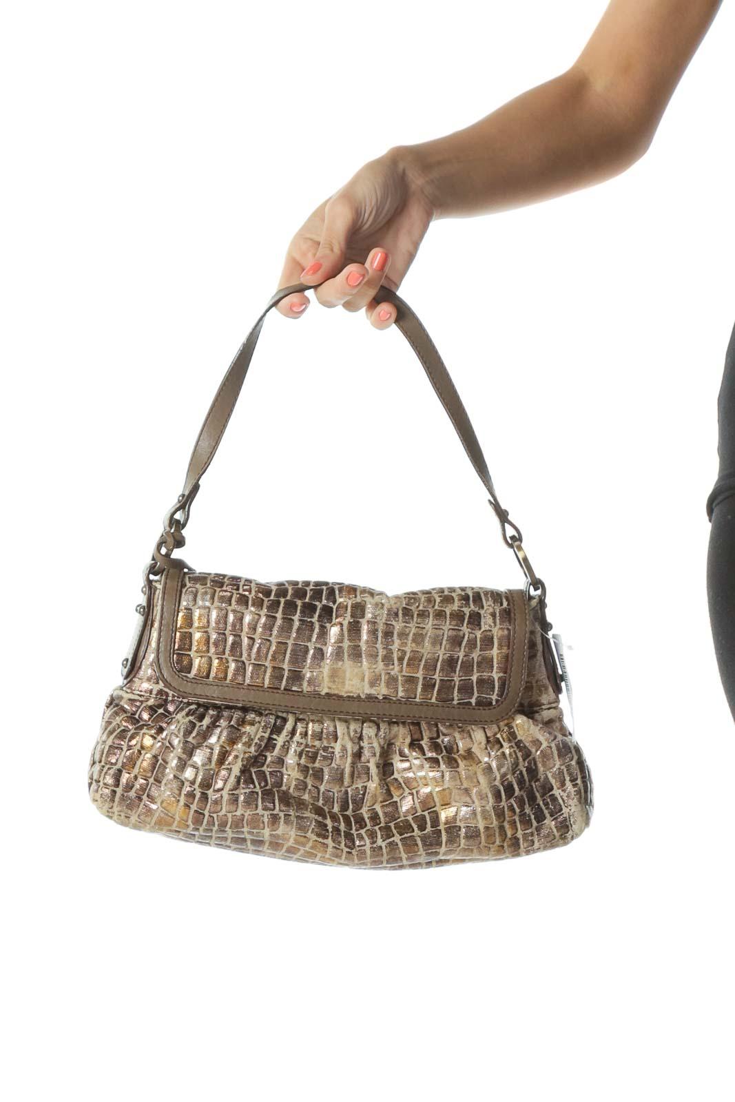 Brown Metallic Designer Shoulder Bag Front