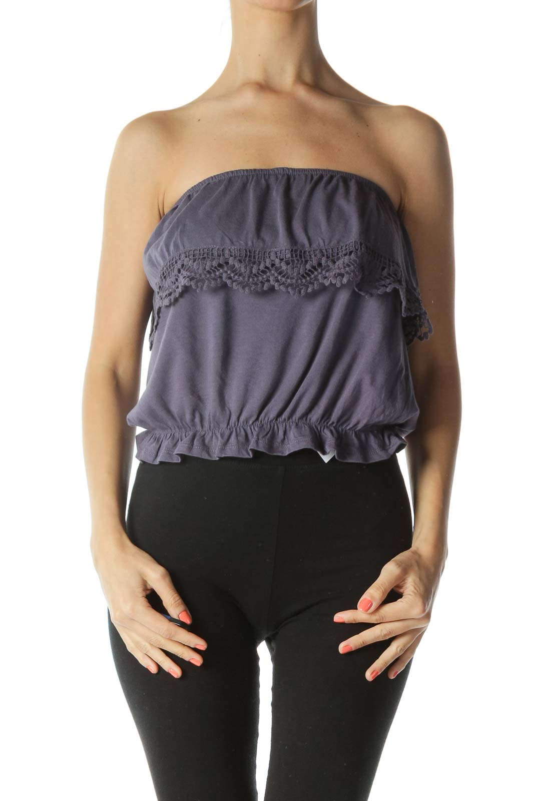 Purple Crocheted Ruffle-Detail Strapless Flared Top Front
