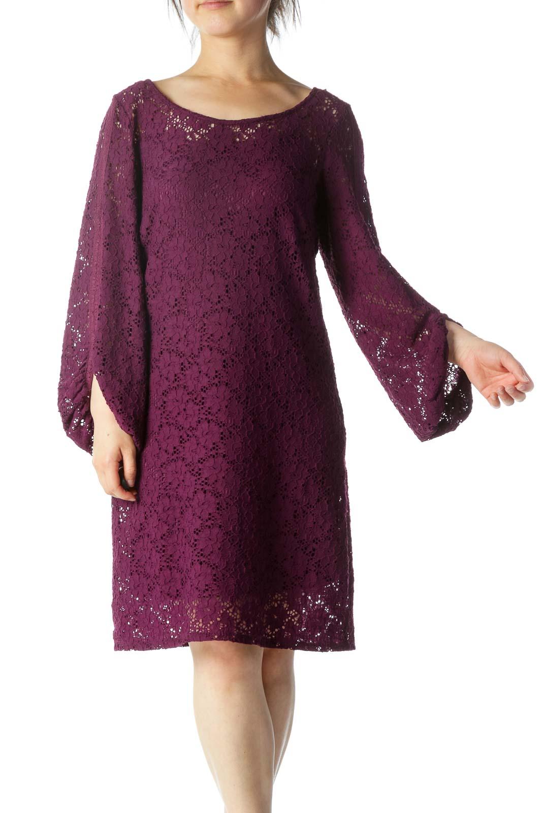 Purple Lace Work Dress Front
