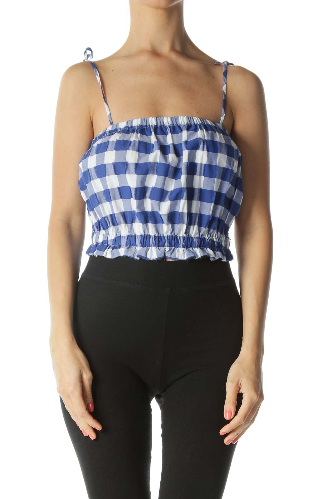 Blue/White Gingham Detailed Raw-Hem-Squares 100% Cotton Top Front