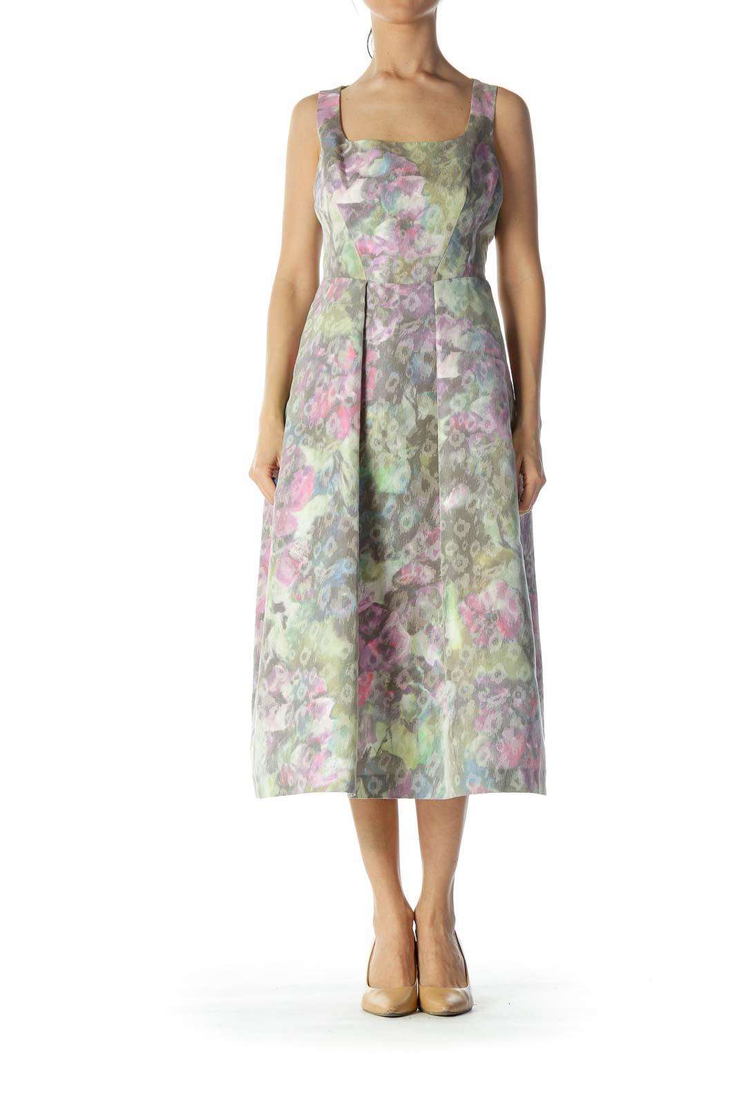Multicolor Floral Print Evening Dress Front