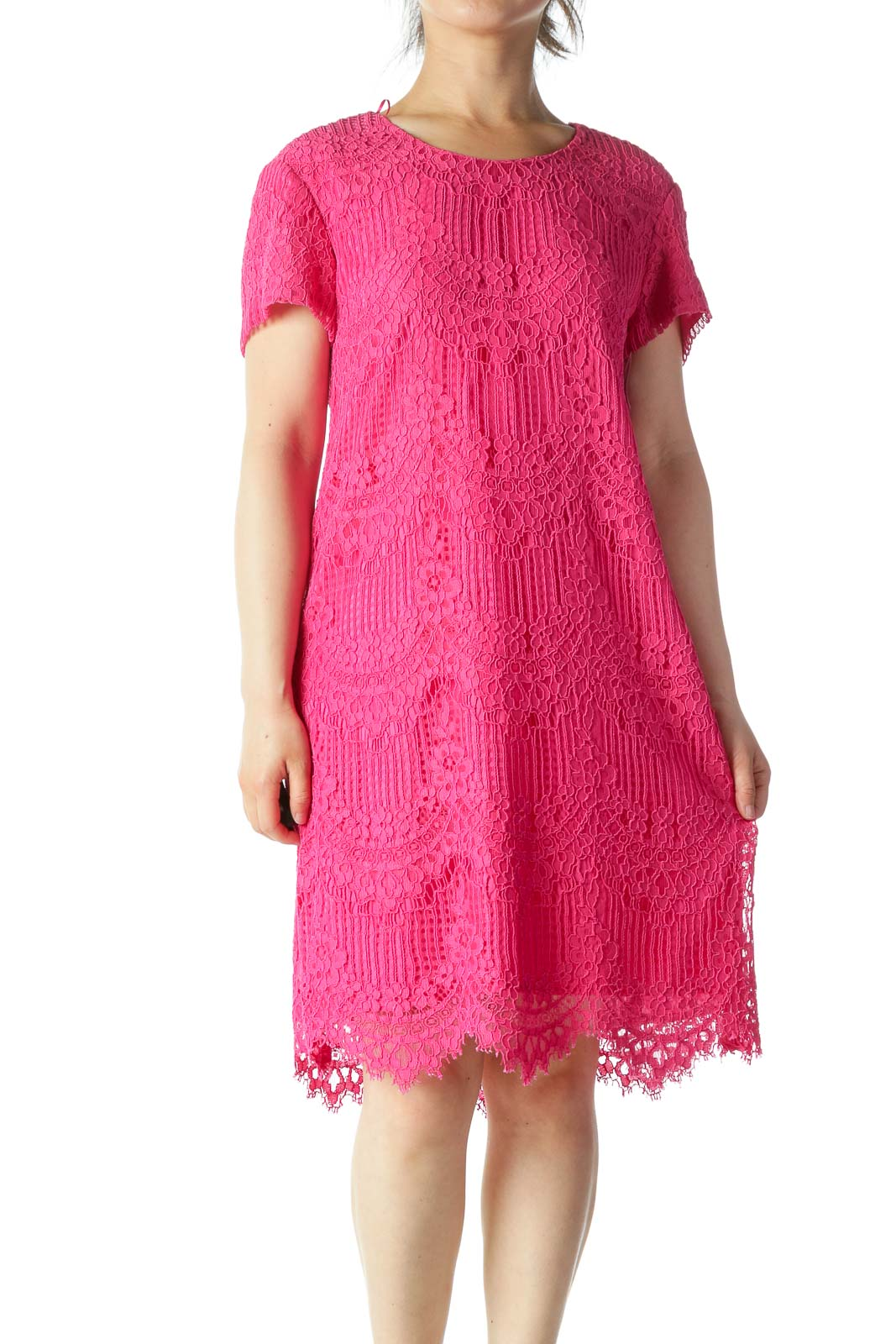 Pink Lace Detail Midi Shift Dress Front