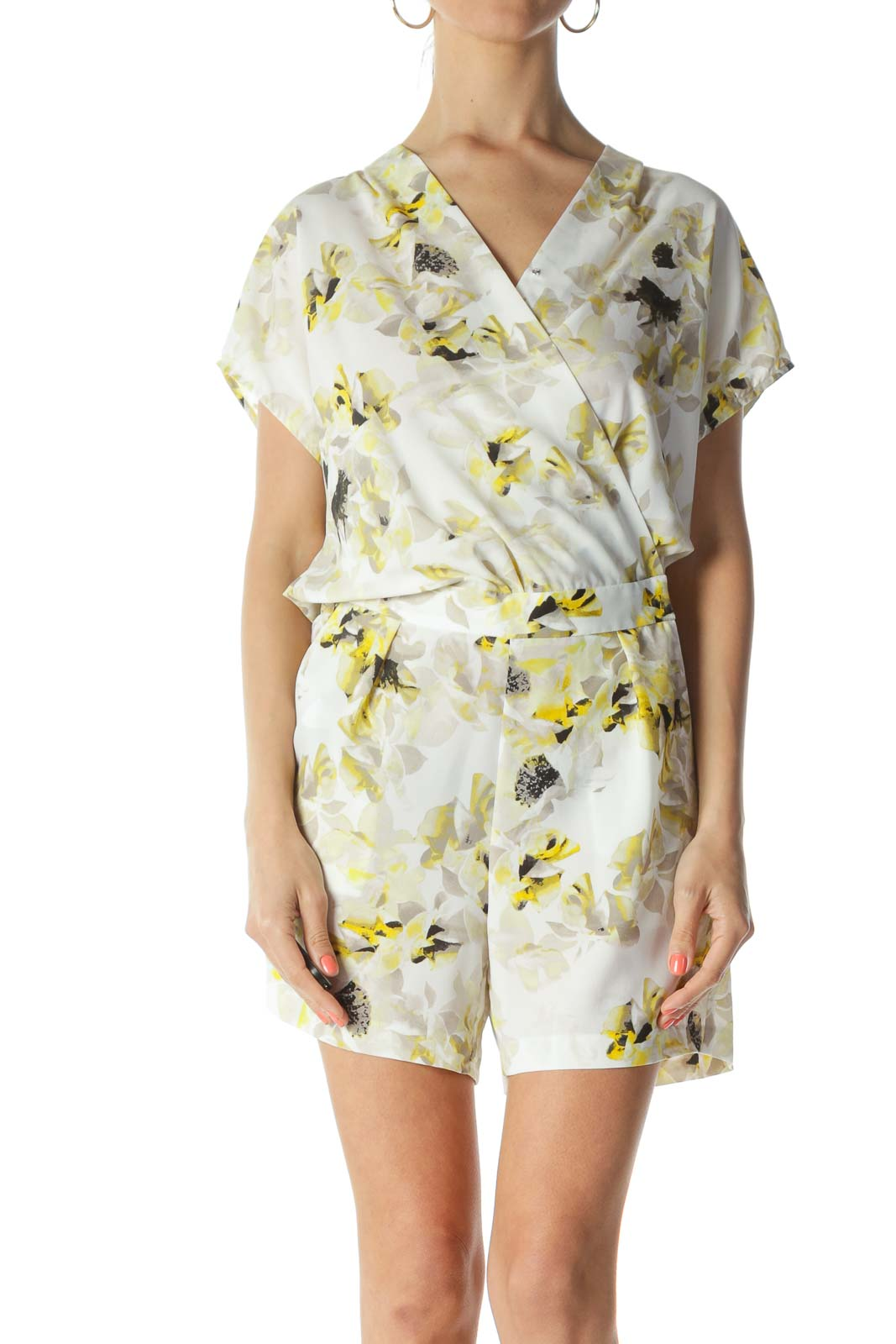 White/Yellow/Black Floral-Print Elastic-Waist Pocketed Romper Front