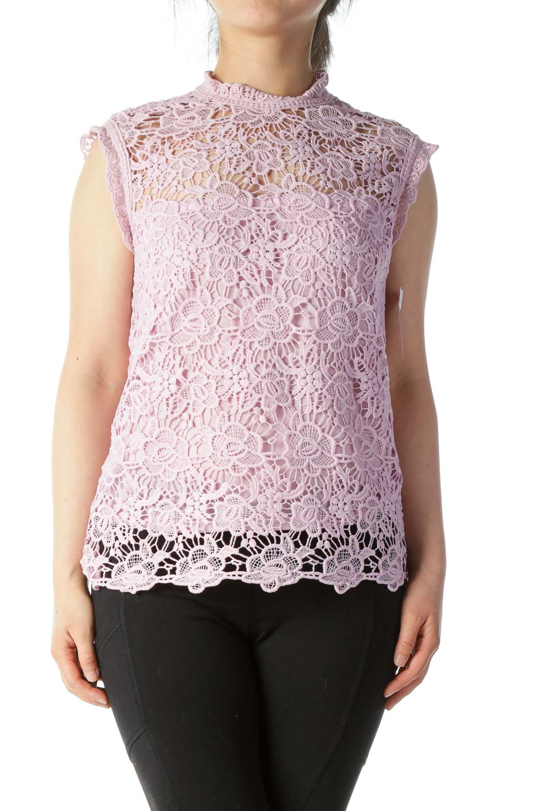 Pink Lace Sleeveless Top Front