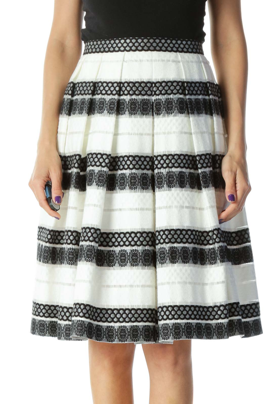 Black and White Embroidered Pleated Flared Skirt Front