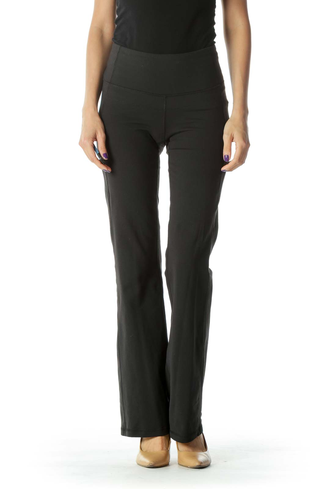 Black Stretchy Bell Bottom Yoga Pant Front
