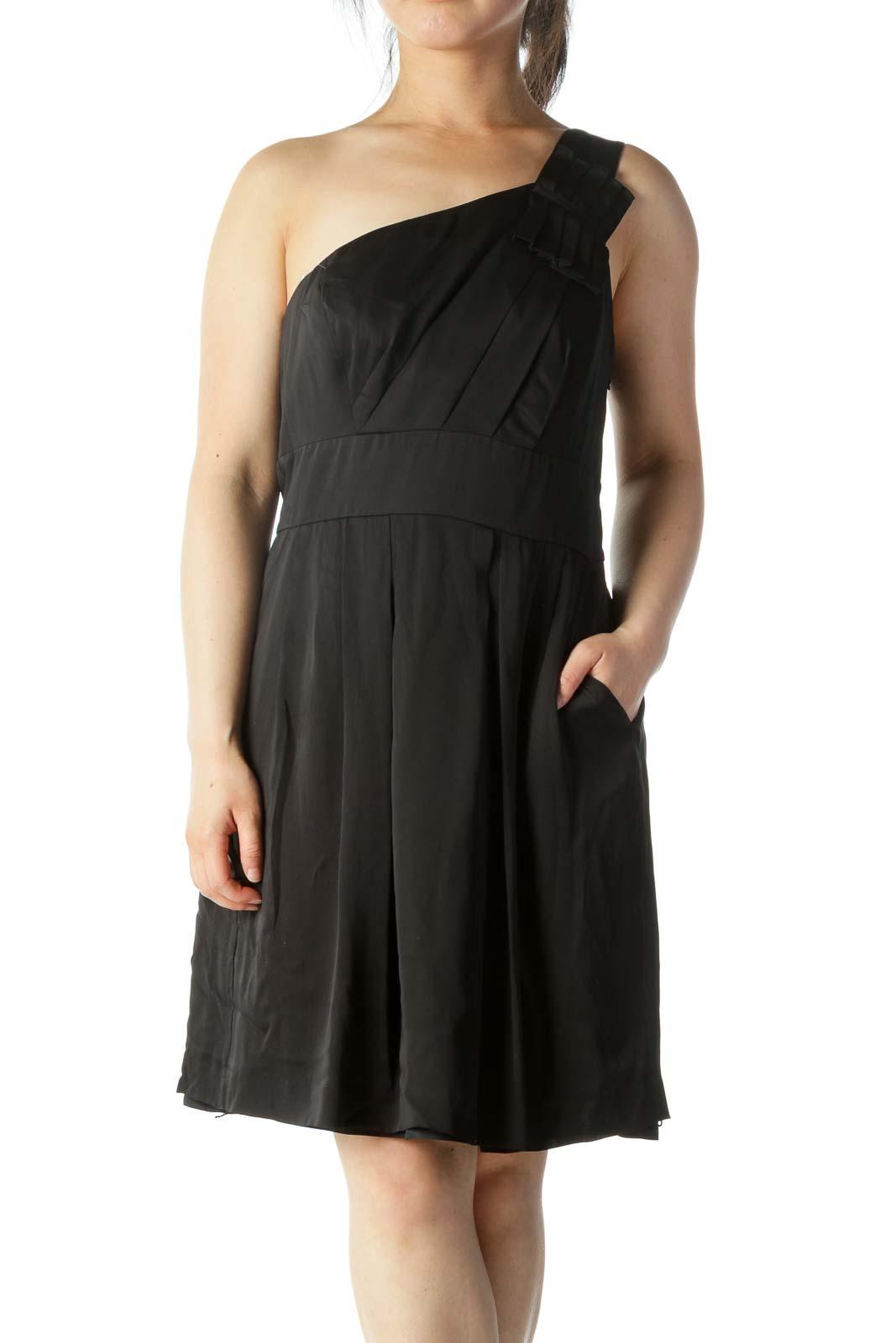 Black Silk One-Shoulder Cocktail Dress Front