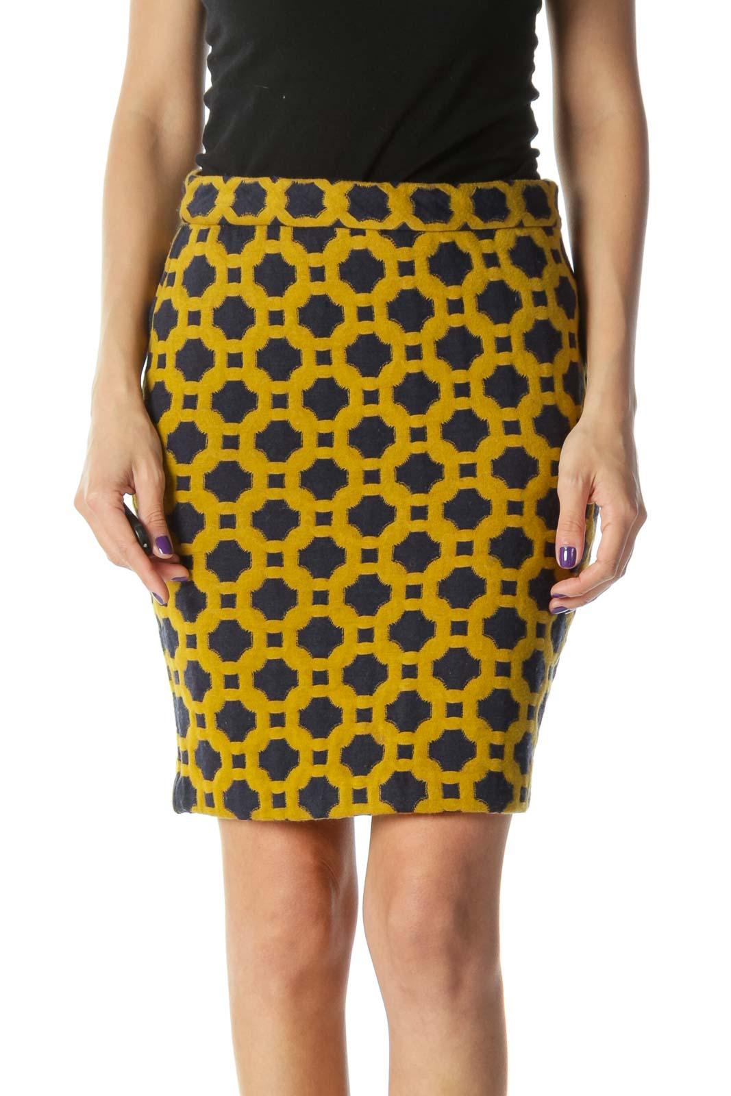 Gold and Navy Knit Pencil Skirt Front