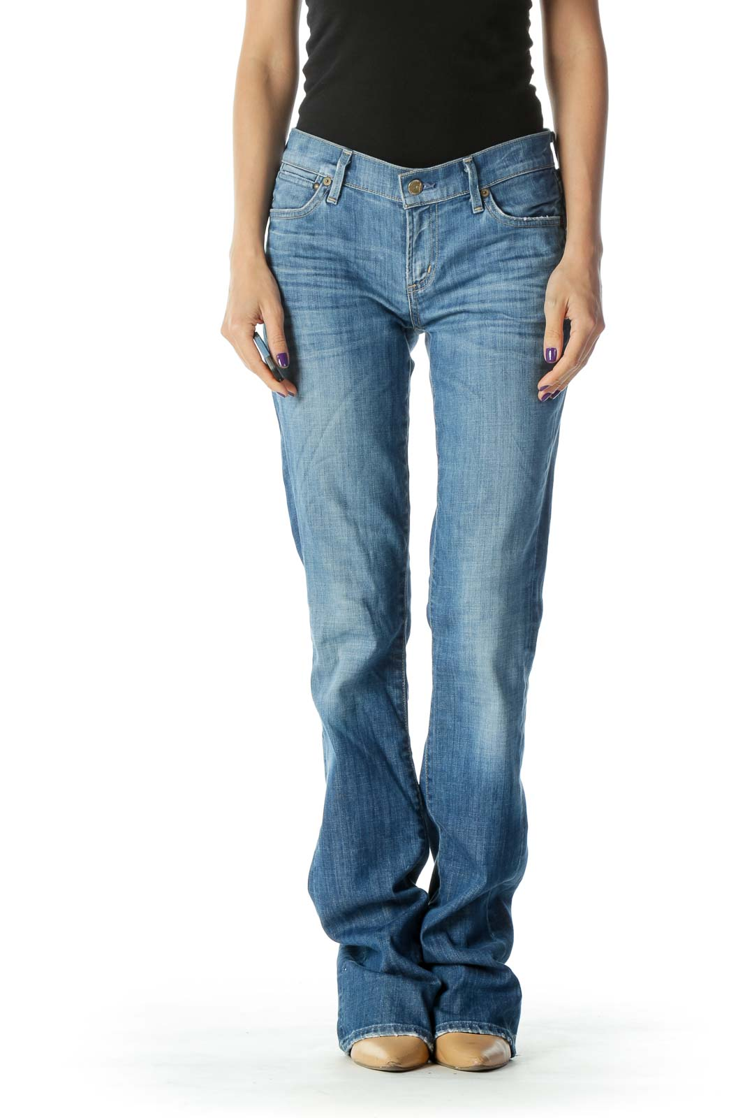 Blue Light Wash Mid Rise Slim Boot Cut Jean Front