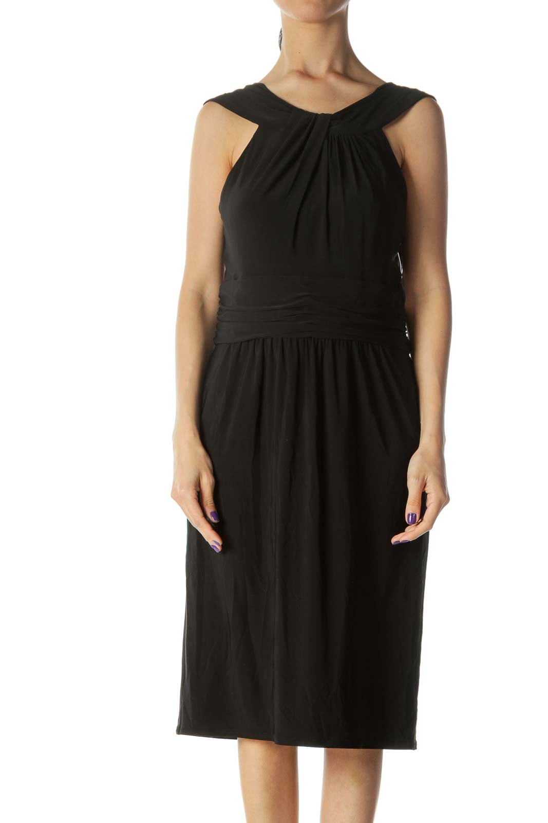 Black Sleeveless Evening Dress Front